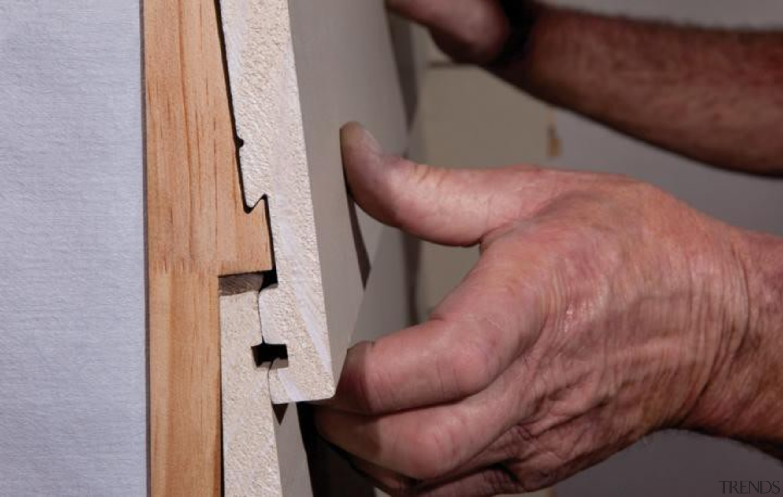 Simpler. Faster. Proven Weathertight. - A-lign Concealed Fix angle, finger, floor, product design, wood, wood stain, red, gray