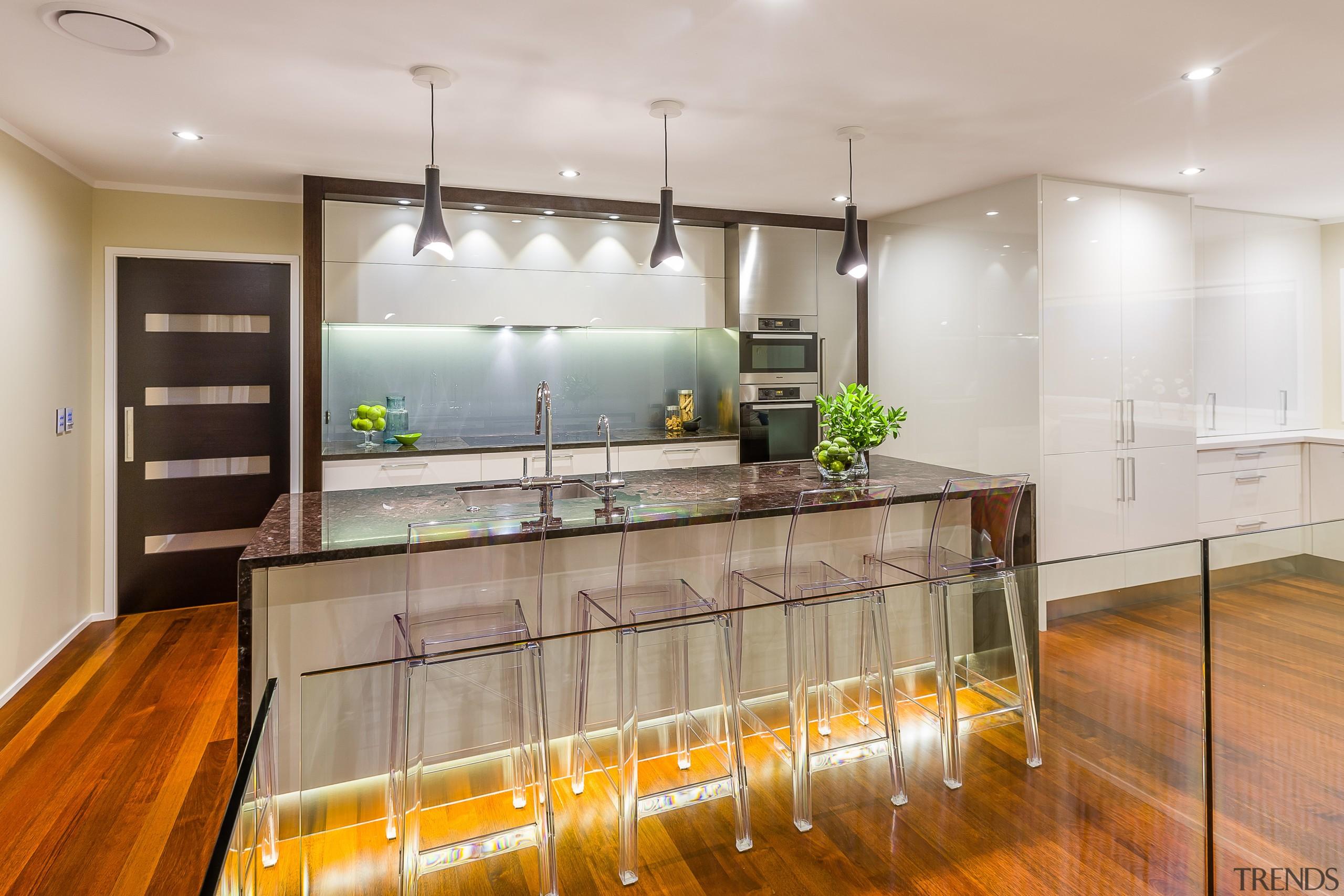 Modern family kitchen in white, with granite island, countertop, interior design, kitchen, real estate, room, gray