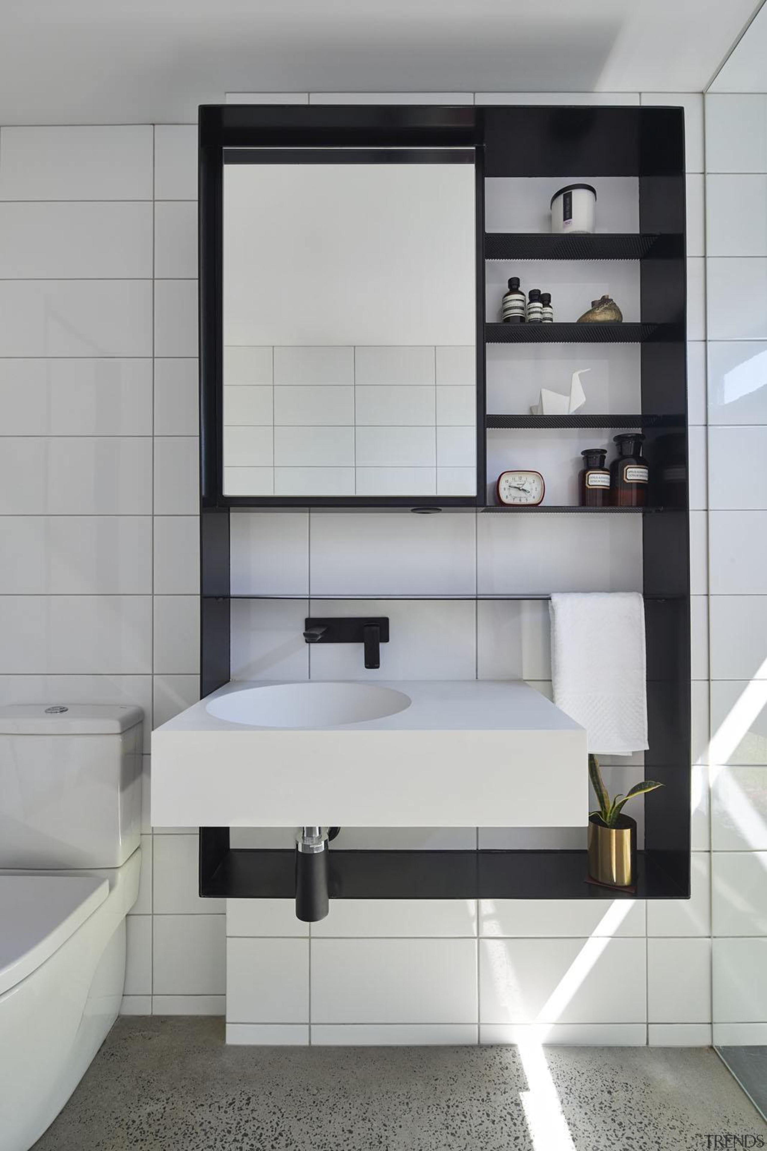 Architect: Austin Maynard ArchitectsPhotography by Peter Bennetts bathroom, bathroom accessory, bathroom cabinet, floor, interior design, product, product design, sink, gray