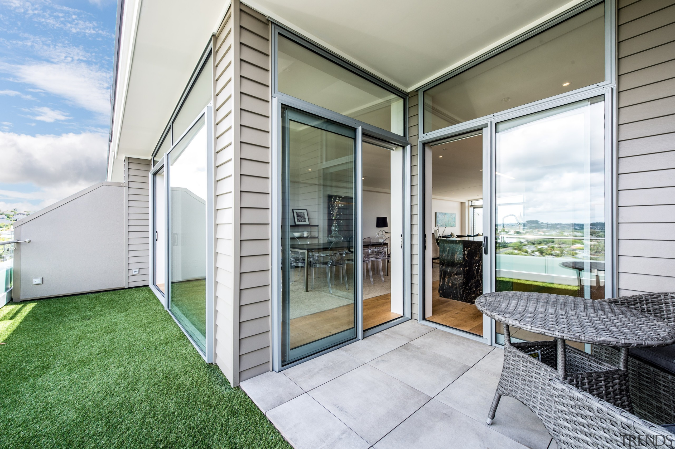 Balcony with view to Rangitoto - Balcony with architecture, daylighting, door, estate, facade, home, house, interior design, property, real estate, window, white