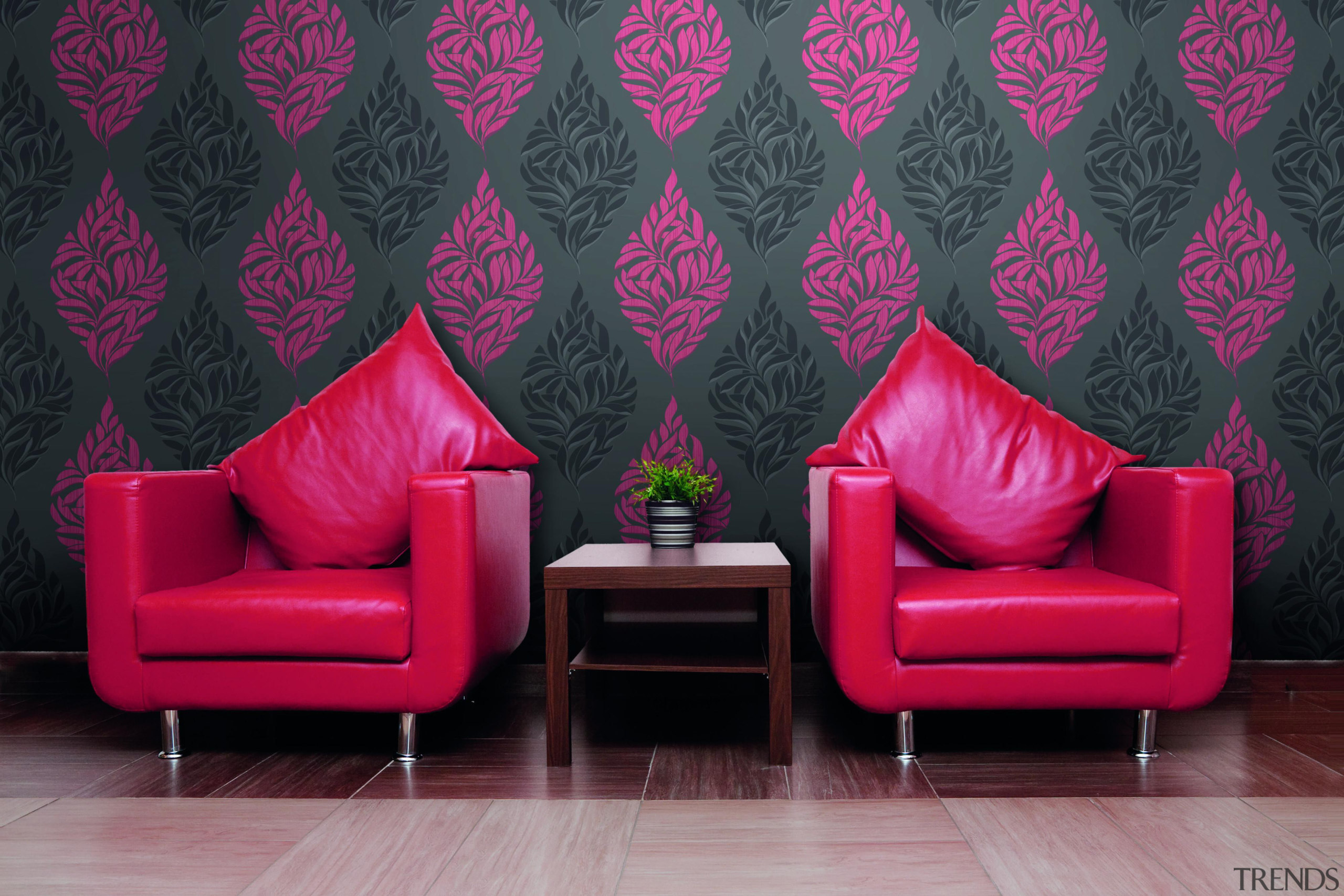 Modern Style Range - chair   couch   chair, couch, interior design, living room, magenta, pink, purple, wall, wallpaper, black, red