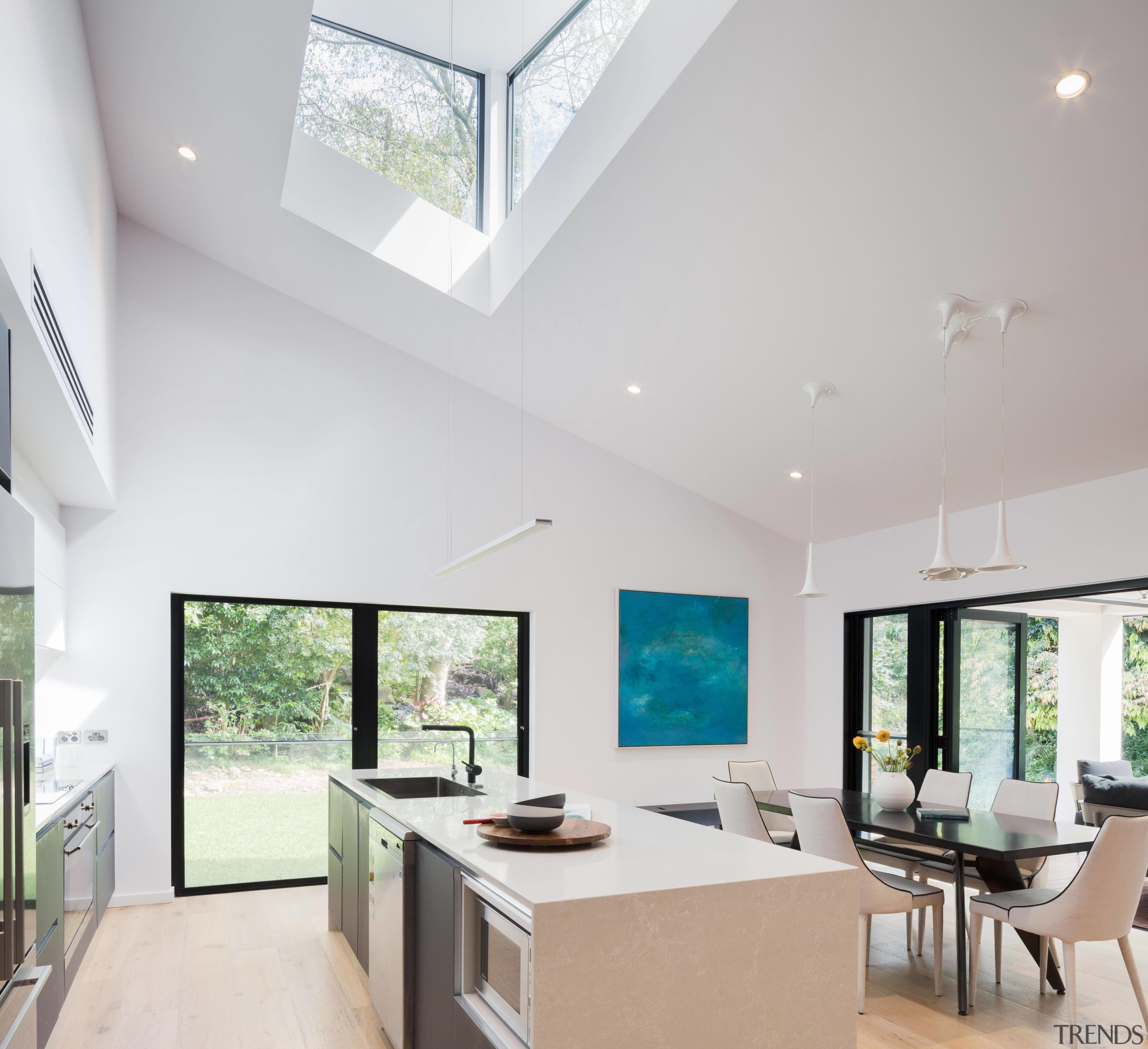 Tall order  this new kitchen, part of architecture, ceiling, daylighting, estate, house, interior design, interior designer, living room, property, real estate, window, gray, white
