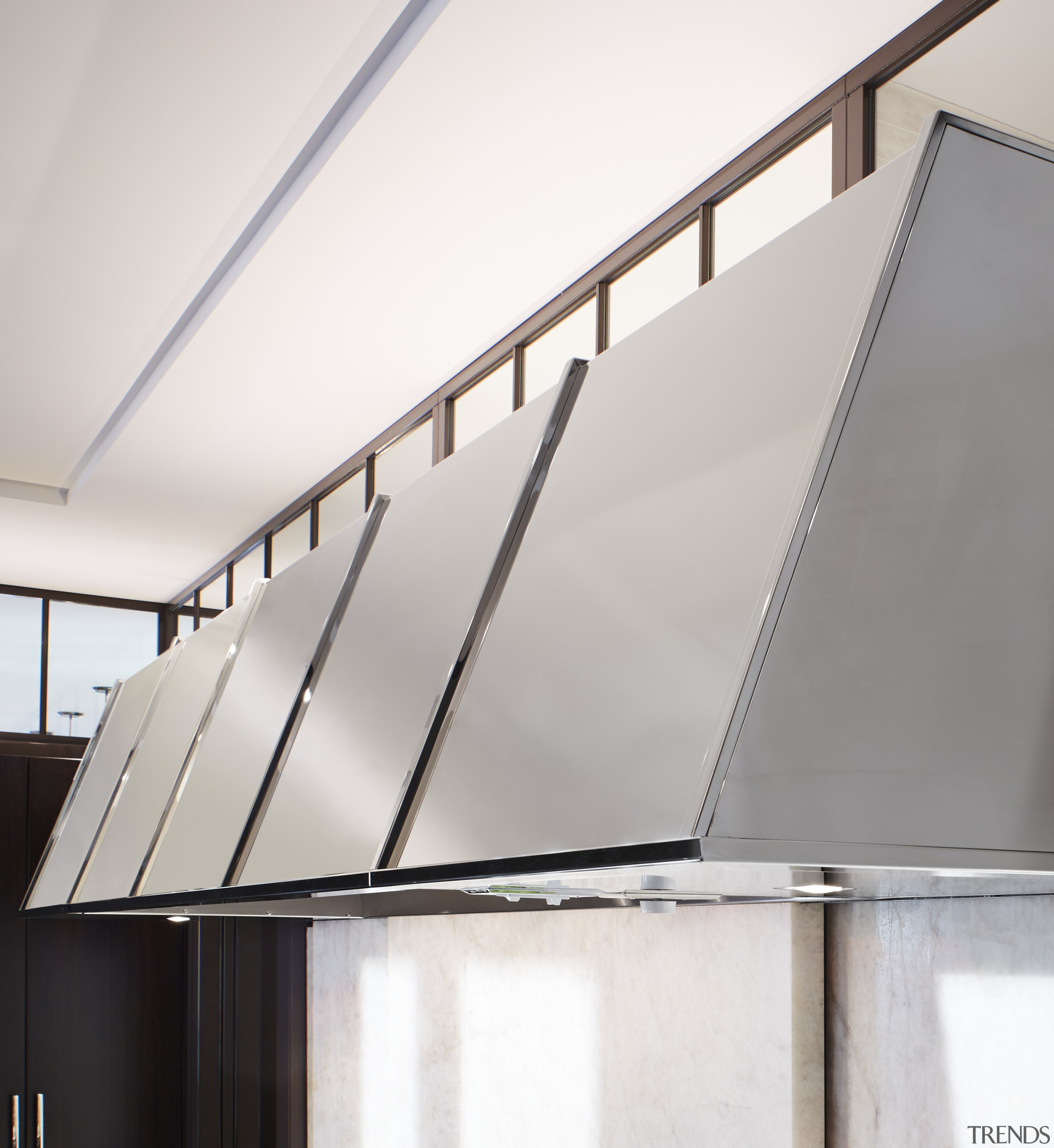 This polished stainless steel hood from the de architecture, daylighting, glass, handrail, line, product design, white
