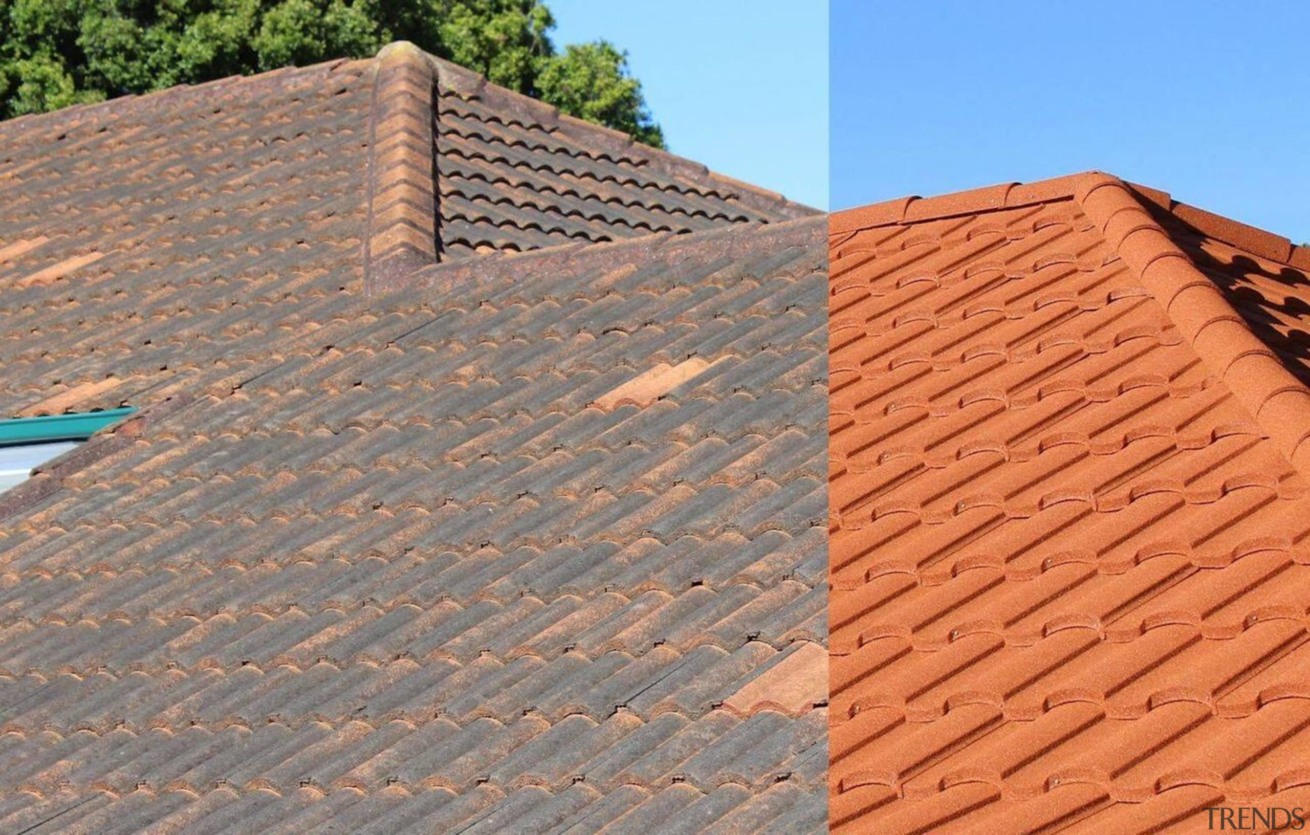 Before and after - brick   brickwork   brick, brickwork, facade, outdoor structure, roof, roofer, sky, wall, wood, wood stain, orange, gray