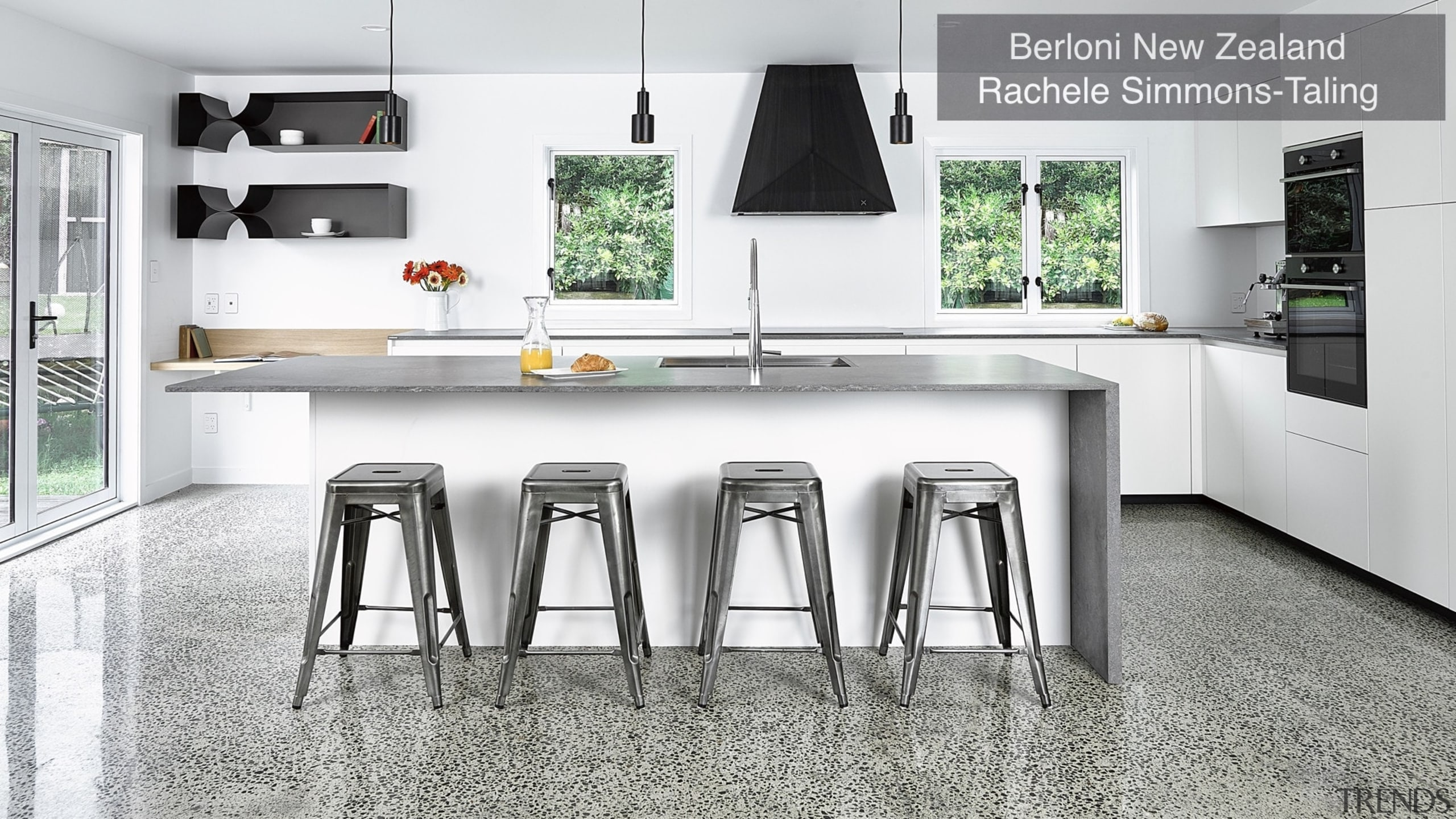 Highly Commended – Berloni New Zealand Rachele Simmons countertop, cuisine classique, floor, flooring, furniture, interior design, kitchen, product, table, white, gray