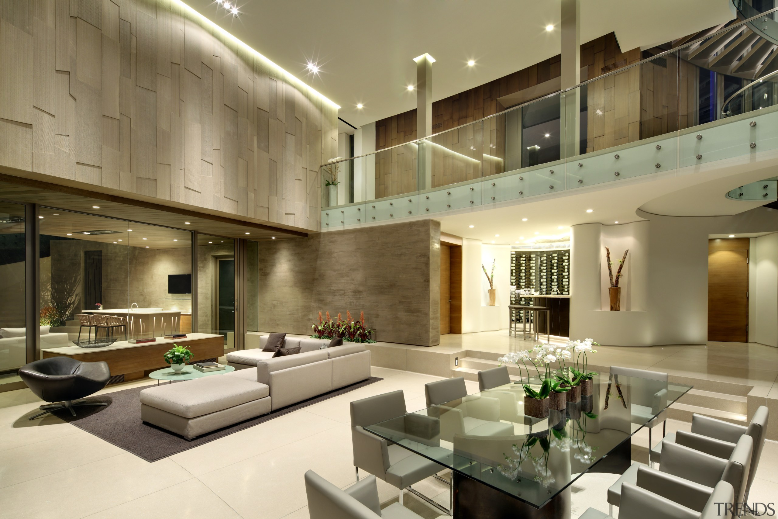 This hillside home is an entertainers dream. Guests architecture, ceiling, condominium, interior design, living room, lobby, real estate, brown