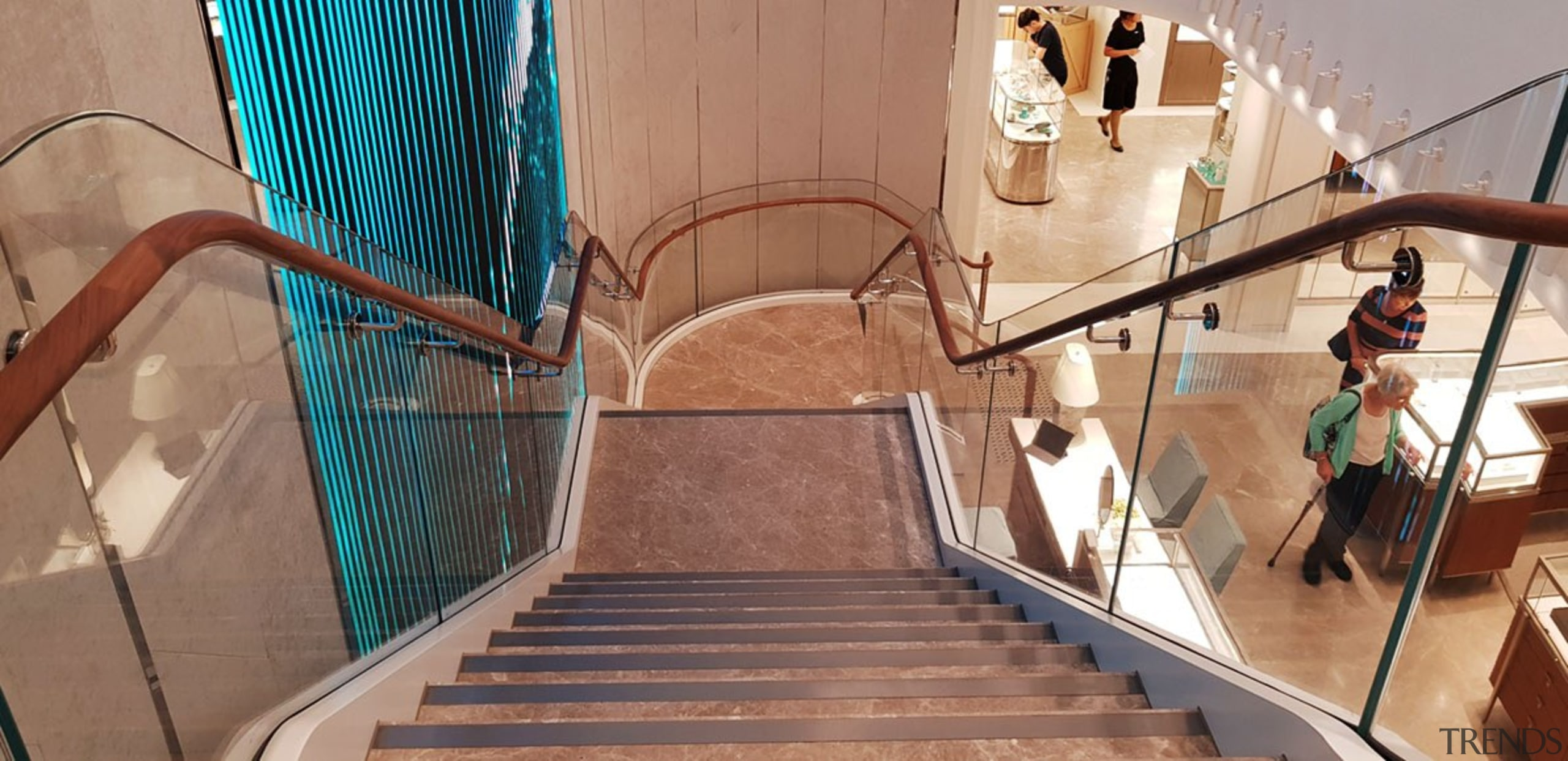 Tiffany Co Sydney 5 - architecture | building architecture, building, handrail, stairs, brown