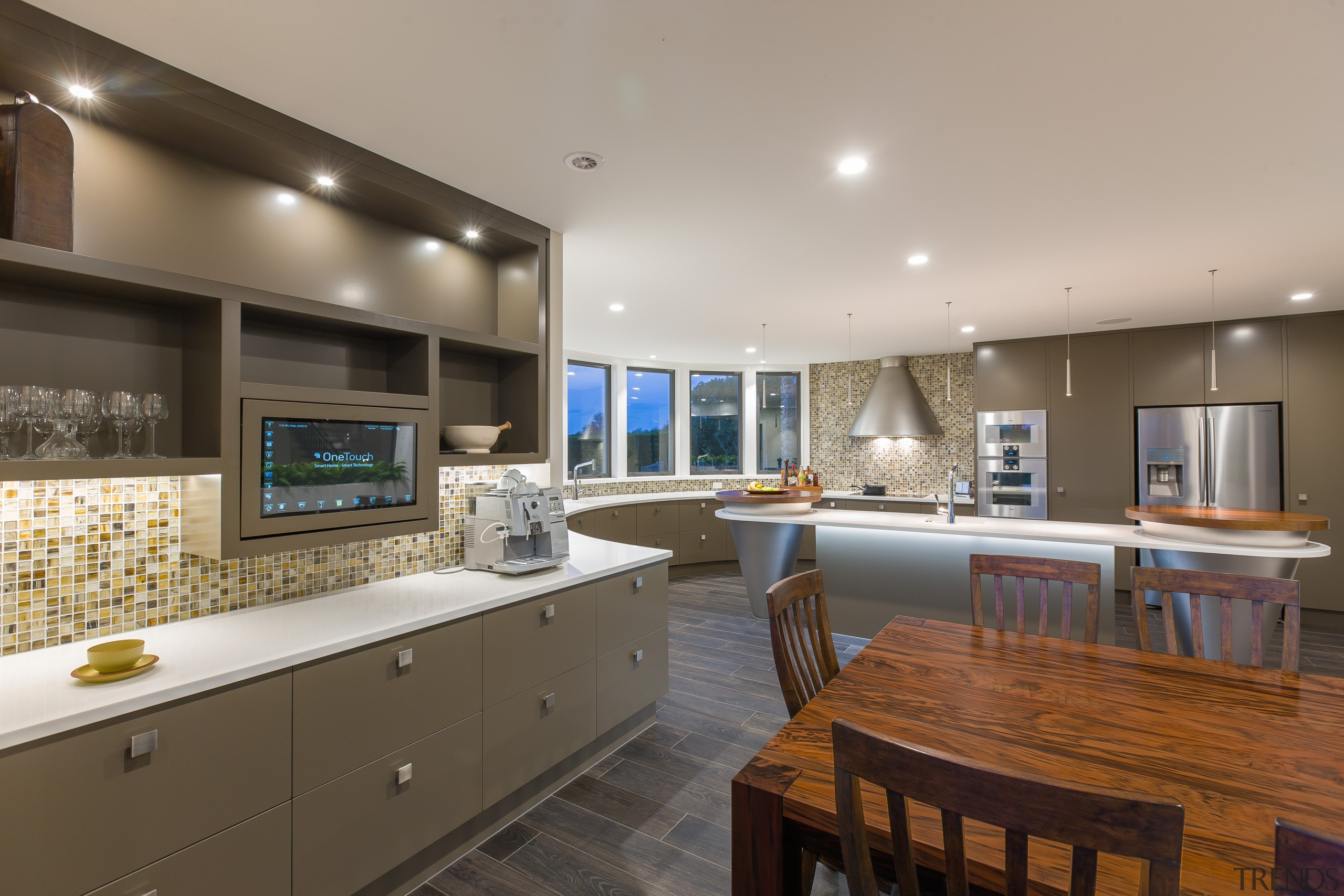 Undercounter storage abounds in this expansive kitchen, including cabinetry, countertop, interior design, kitchen, real estate, room, gray, brown