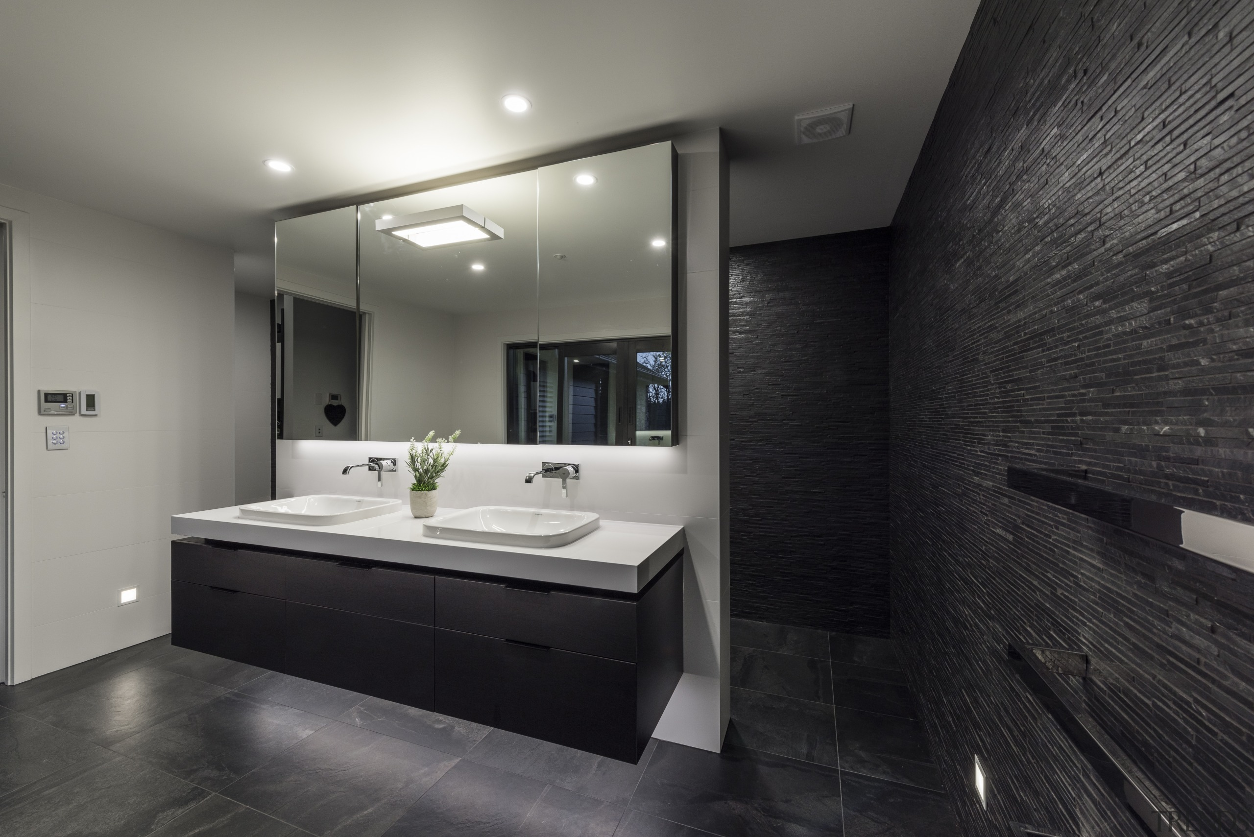 In this bathroom, floating the double vanity optimised architecture, bathroom, ceiling, floor, interior design, real estate, room, black, gray