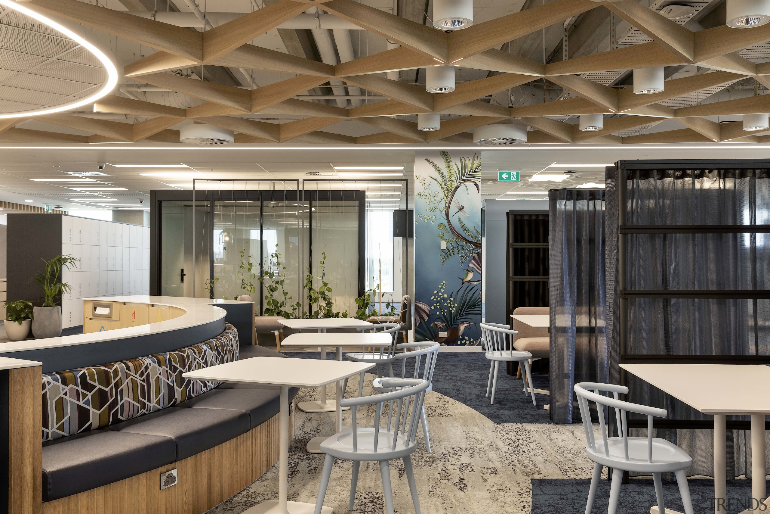 This ANZ staff breakout space is in proximity gray, brown