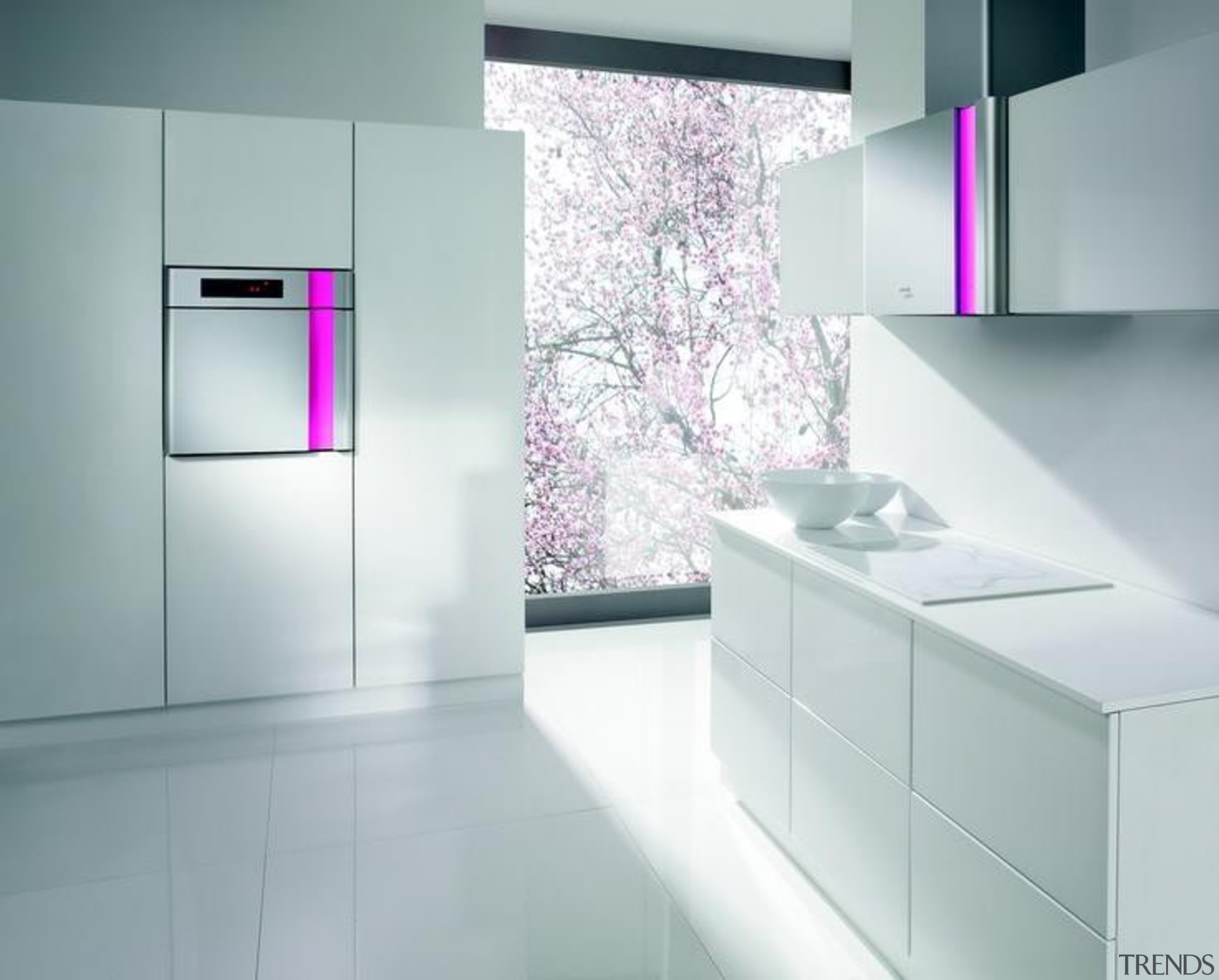 Kitchen design and appliances by  by Karim bathroom, bathroom accessory, bathroom cabinet, floor, furniture, glass, interior design, kitchen, product, product design, purple, sink, tap, gray