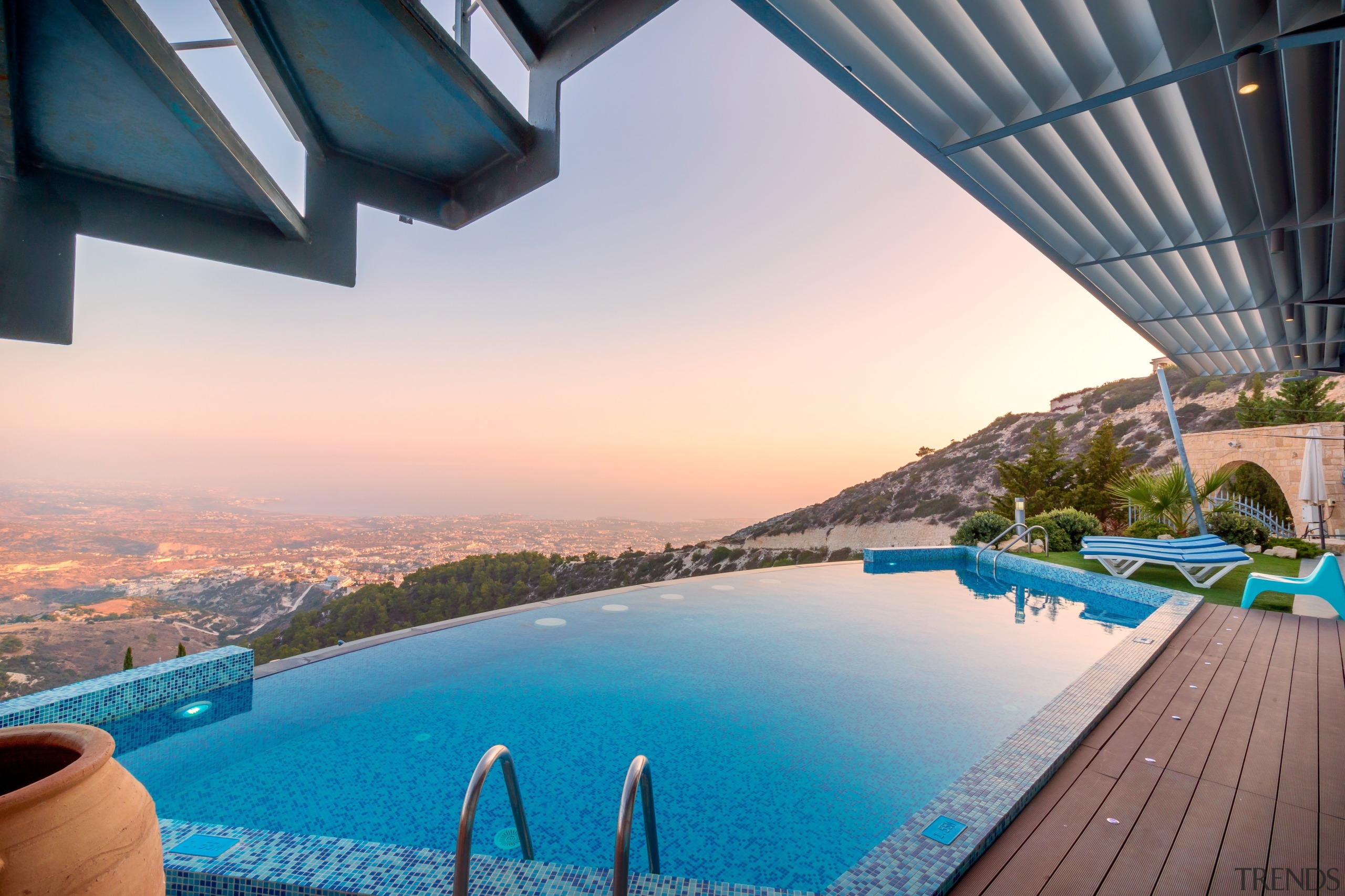 Another infinity pool with an unbeatable view - architecture, estate, leisure, property, real estate, reflection, resort, sea, sky, swimming pool, vacation, water, gray