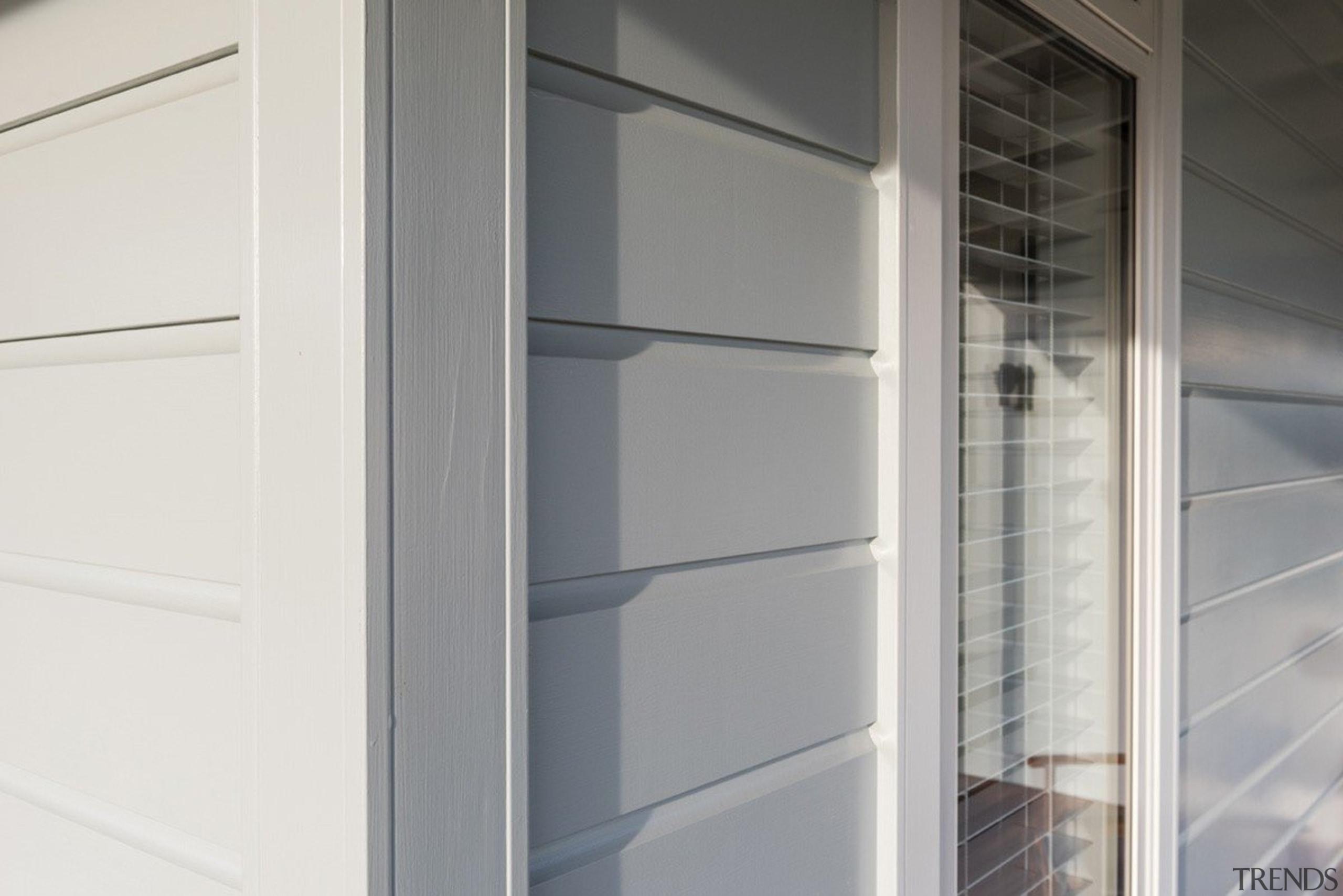 Envira weatherboard timber box corner detail - Envira closet, gray, white