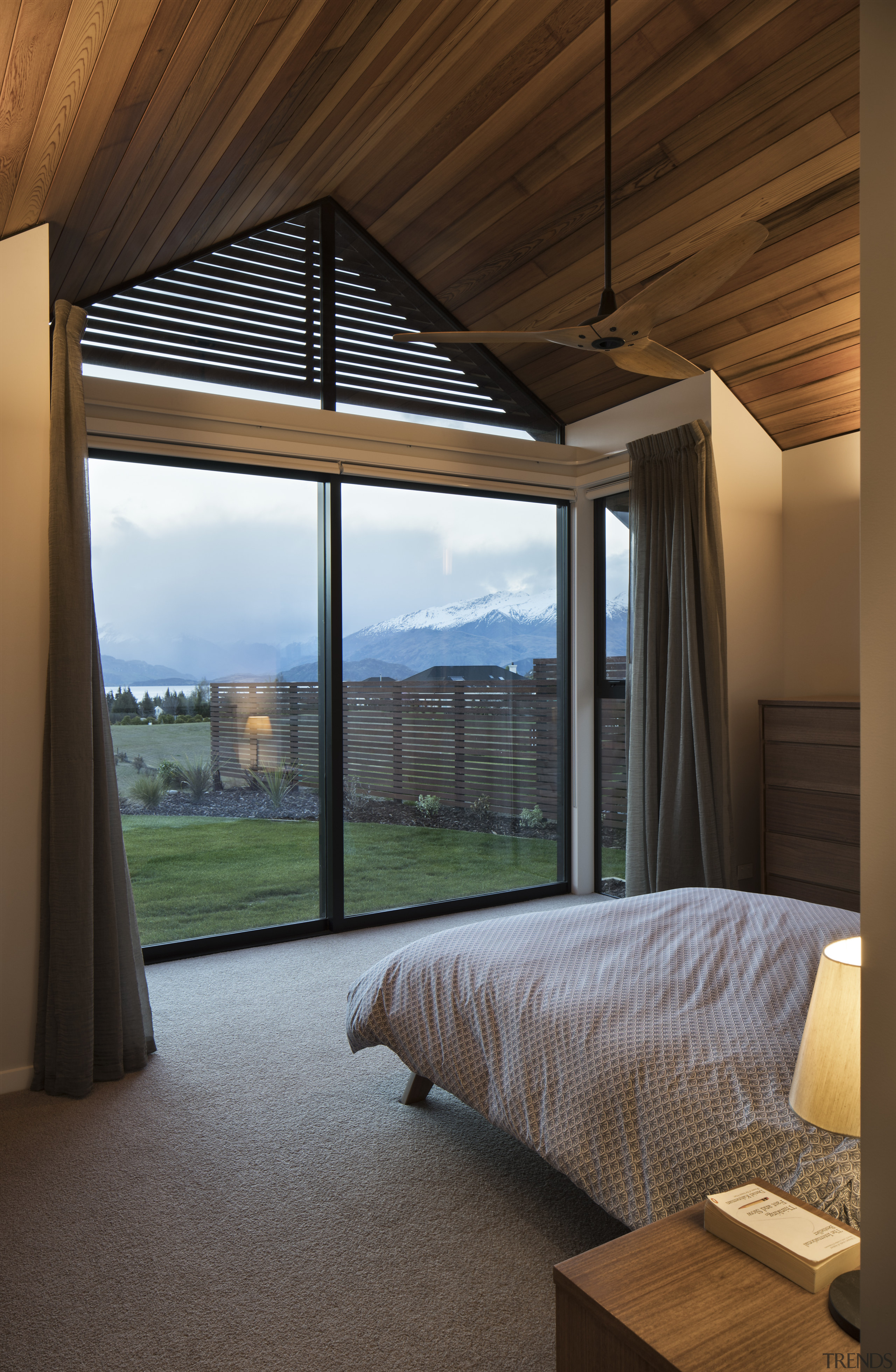 Shutters under the eaves of this master bedroom architecture, bed, bedroom, furniture, home, house, interior design, shutters, Condon Scott