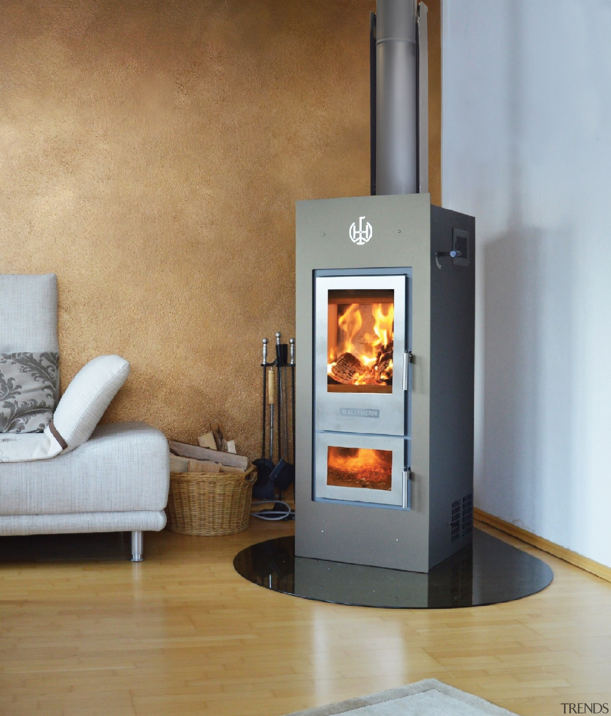 Jayline Walltherm-Air - Jayline Walltherm-Air - hearth   hearth, heat, home appliance, major appliance, stove, wood burning stove, gray, brown