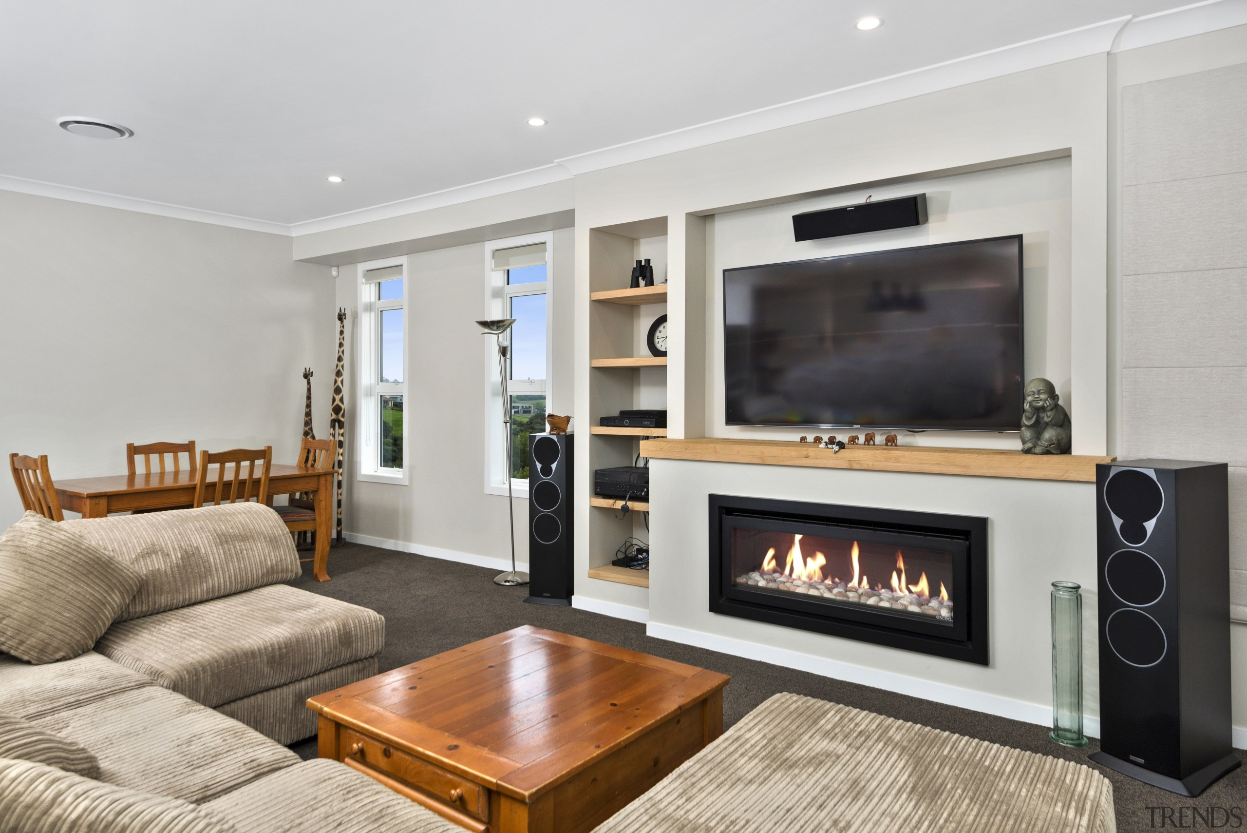 A hassle-free built-in feature gas fire adds ambience fireplace, hearth, interior design, living room, property, real estate, room, gray
