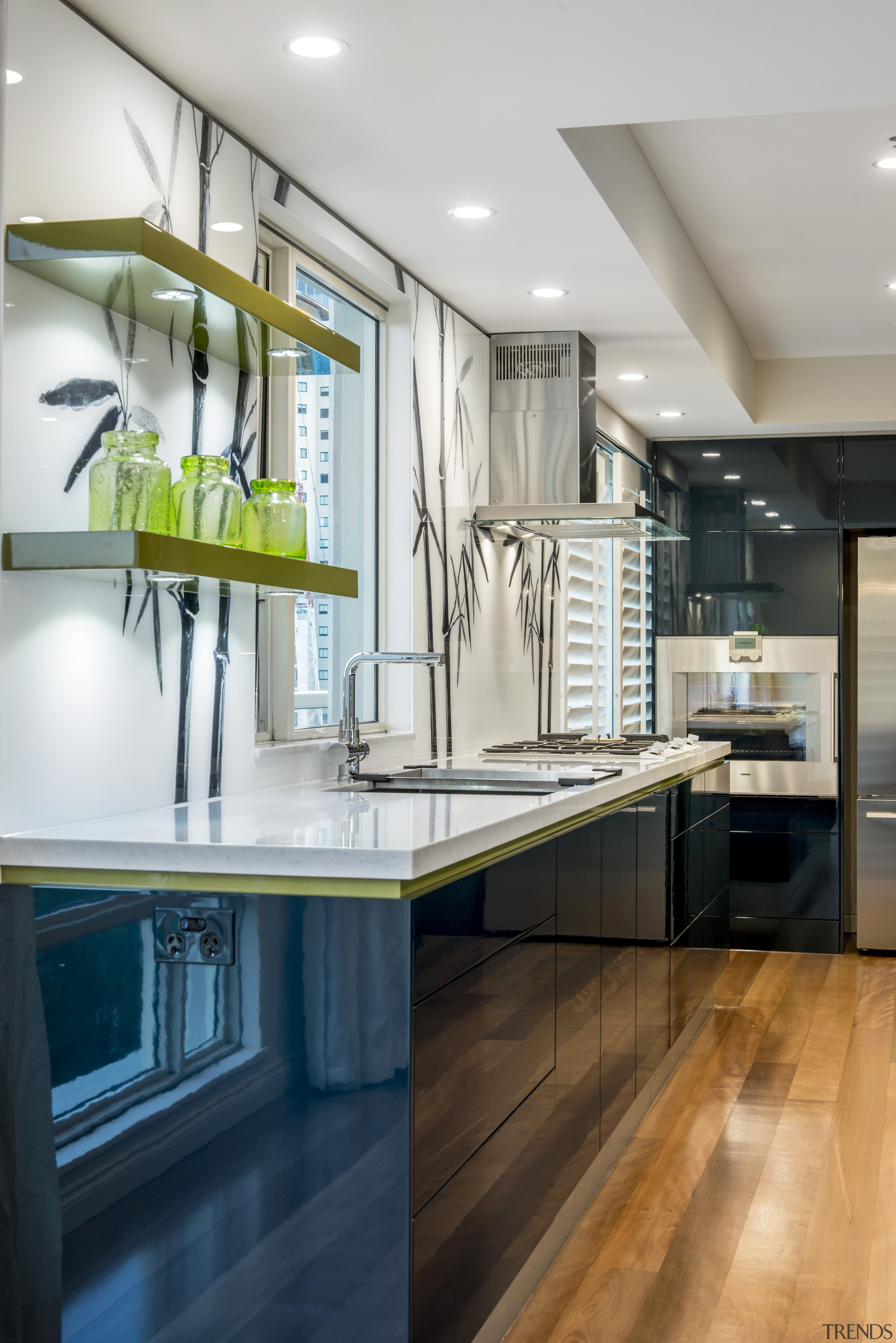 A custom backpainted glass splashback featuring bamboo plants cabinetry, countertop, interior design, kitchen, room, gray