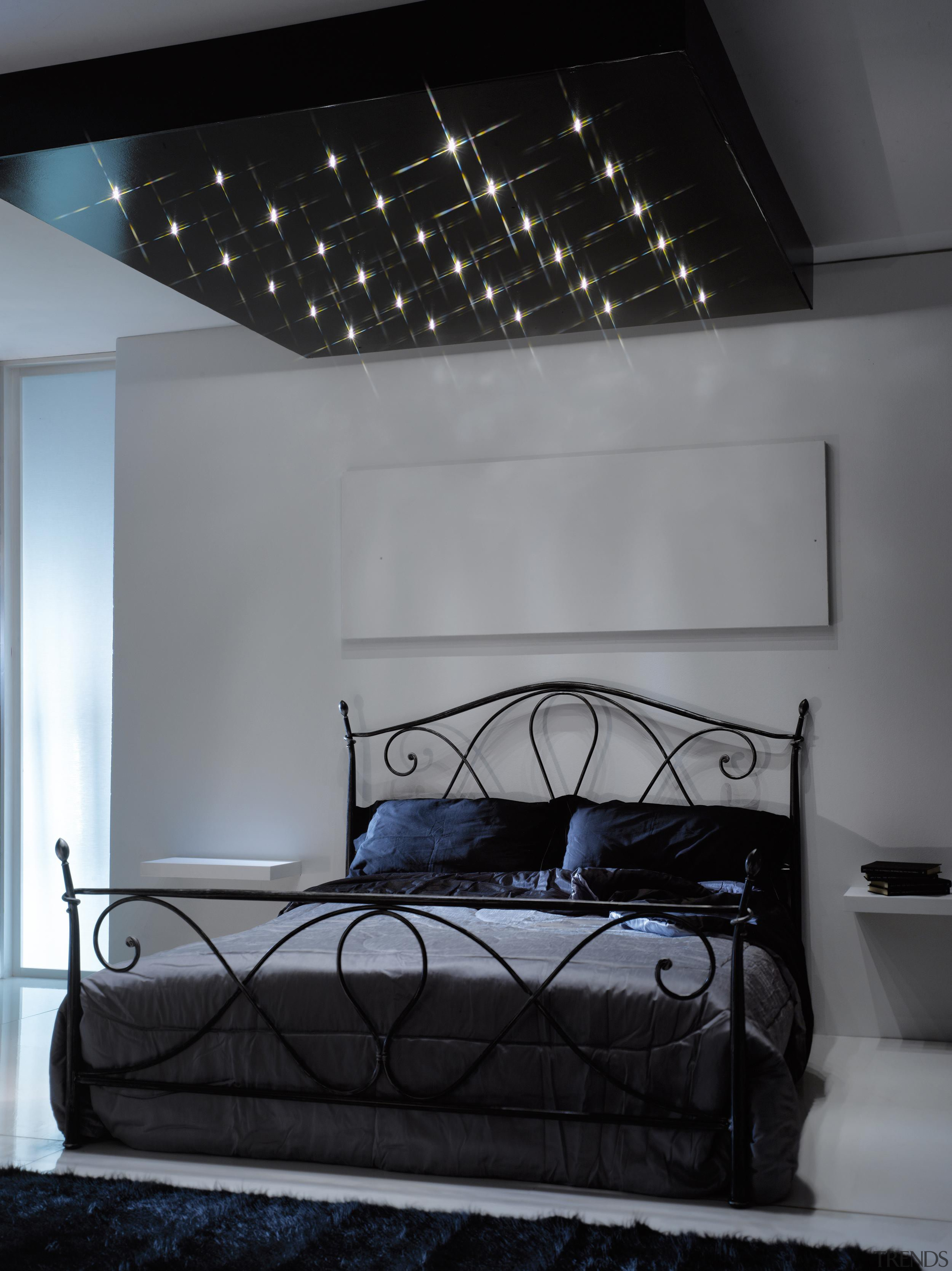 LED Lights - architecture | bed | bed architecture, bed, bed frame, bedroom, ceiling, furniture, interior design, room, wall, gray, black