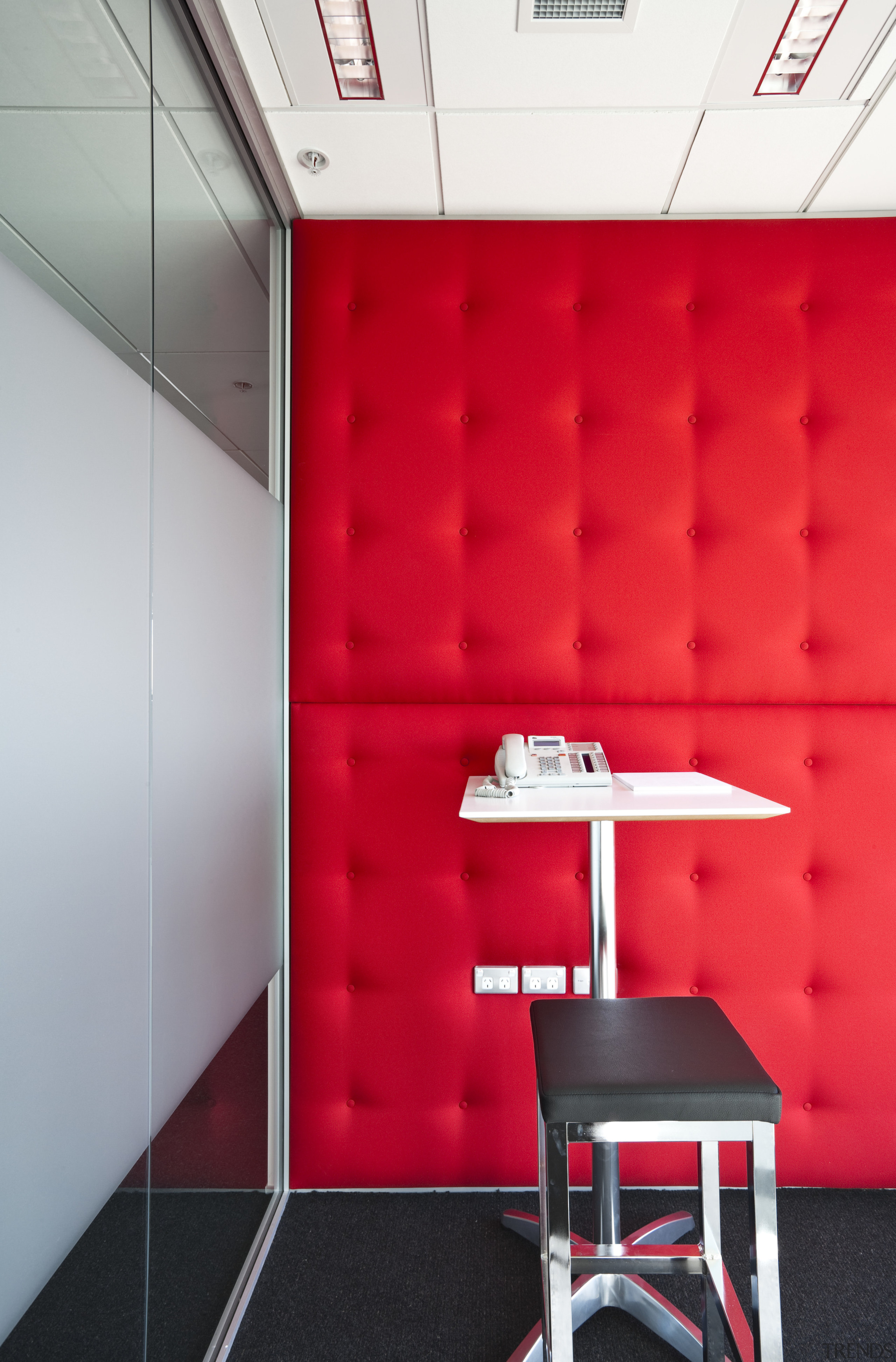 The office interiors at the Club Tower reflect architecture, ceiling, design, floor, furniture, interior design, product, product design, red, table, wall, red, gray