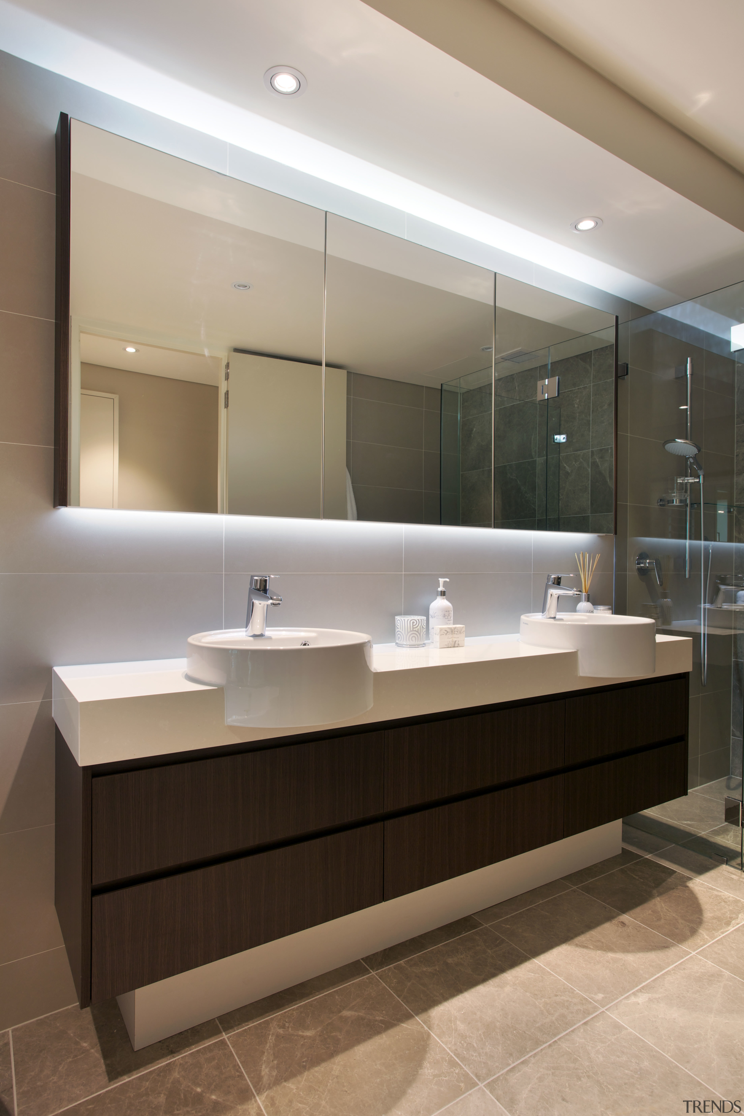 Cantilevered vanity in a timber laminate in new architecture, bathroom, countertop, floor, interior design, product design, sink, gray