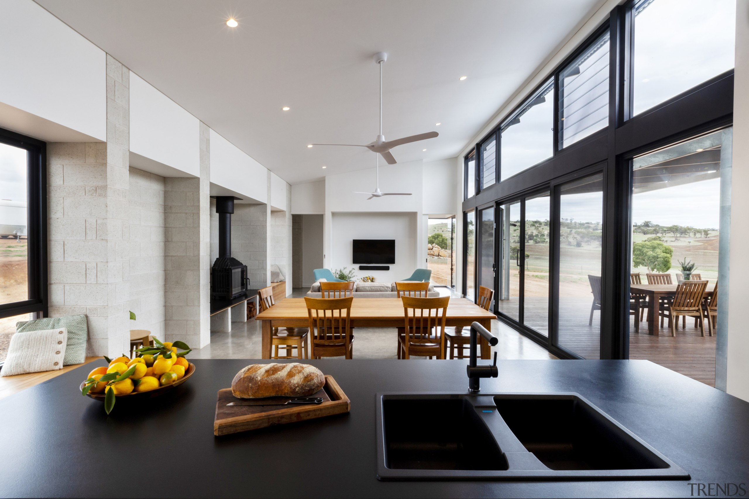 The expansive living and entertaining space is not