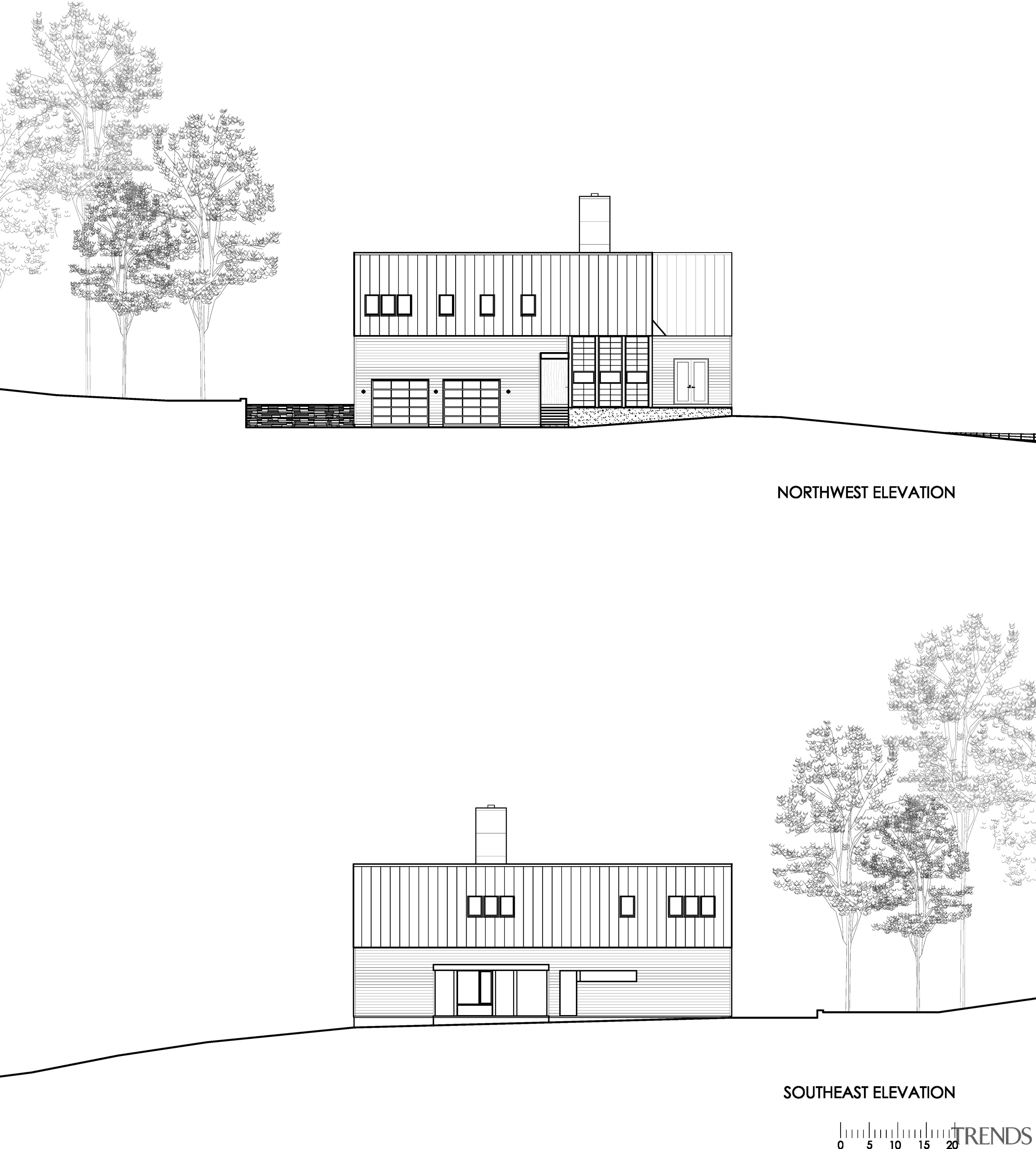 Modern country home plan by Robert M Gurney angle, architecture, area, black and white, design, diagram, drawing, elevation, floor plan, font, house, line, monochrome, plan, product design, structure, text, white