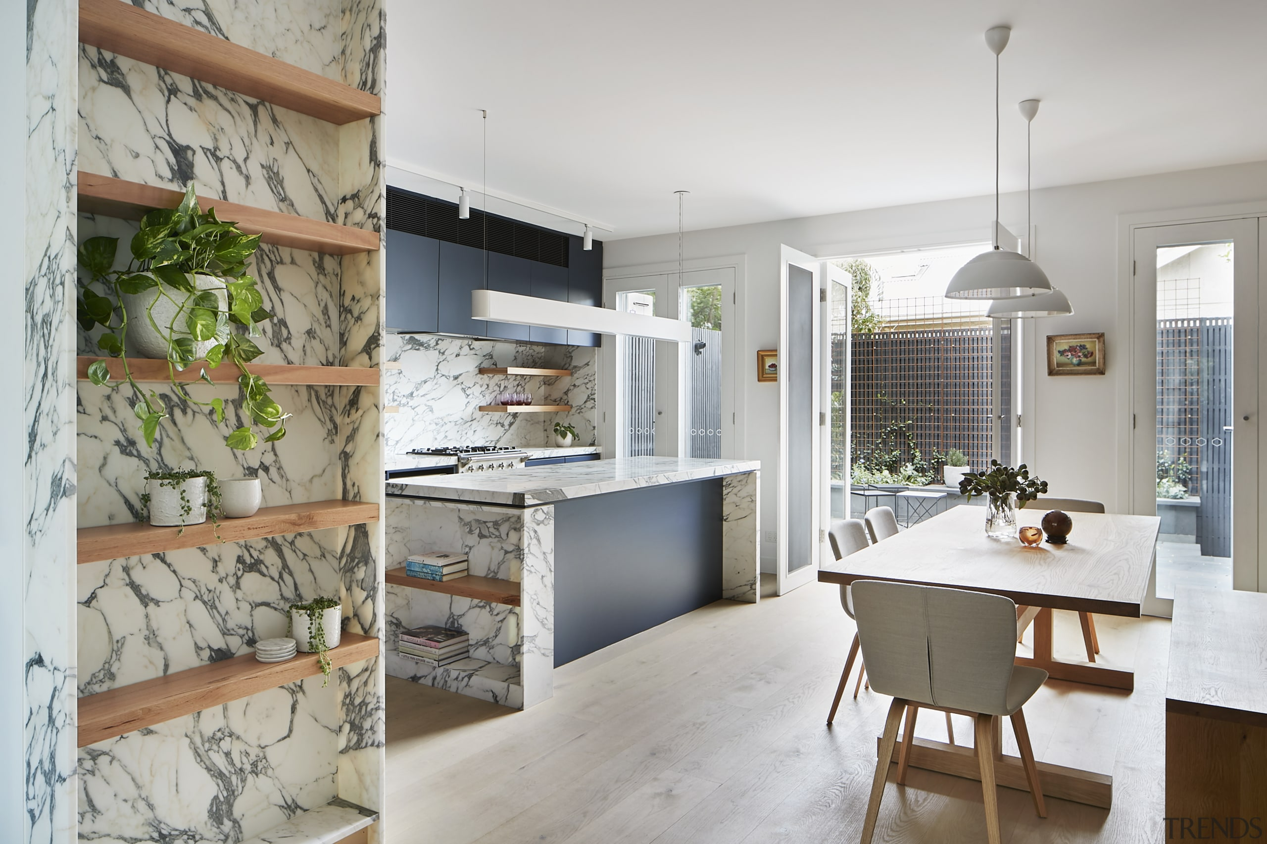 Rooms were merged and French doors with matching countertop, home, interior design, kitchen, Rob Nerlich, Mcmahon and Nerlich, grey cabinetry, Marble benchtop, countertop