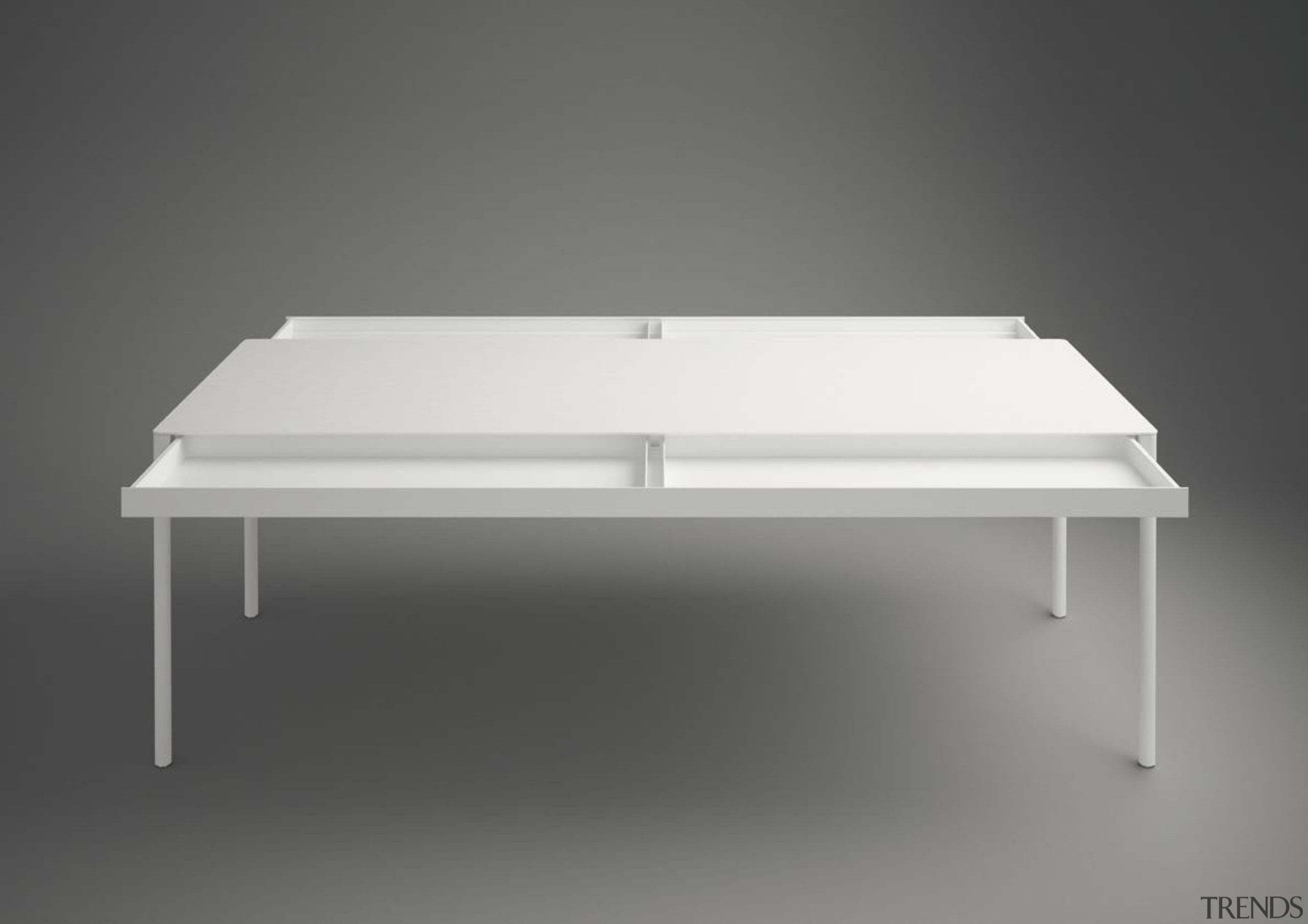 This year's International Furniture Fair Milan, featured many angle, coffee table, furniture, line, product, table, gray