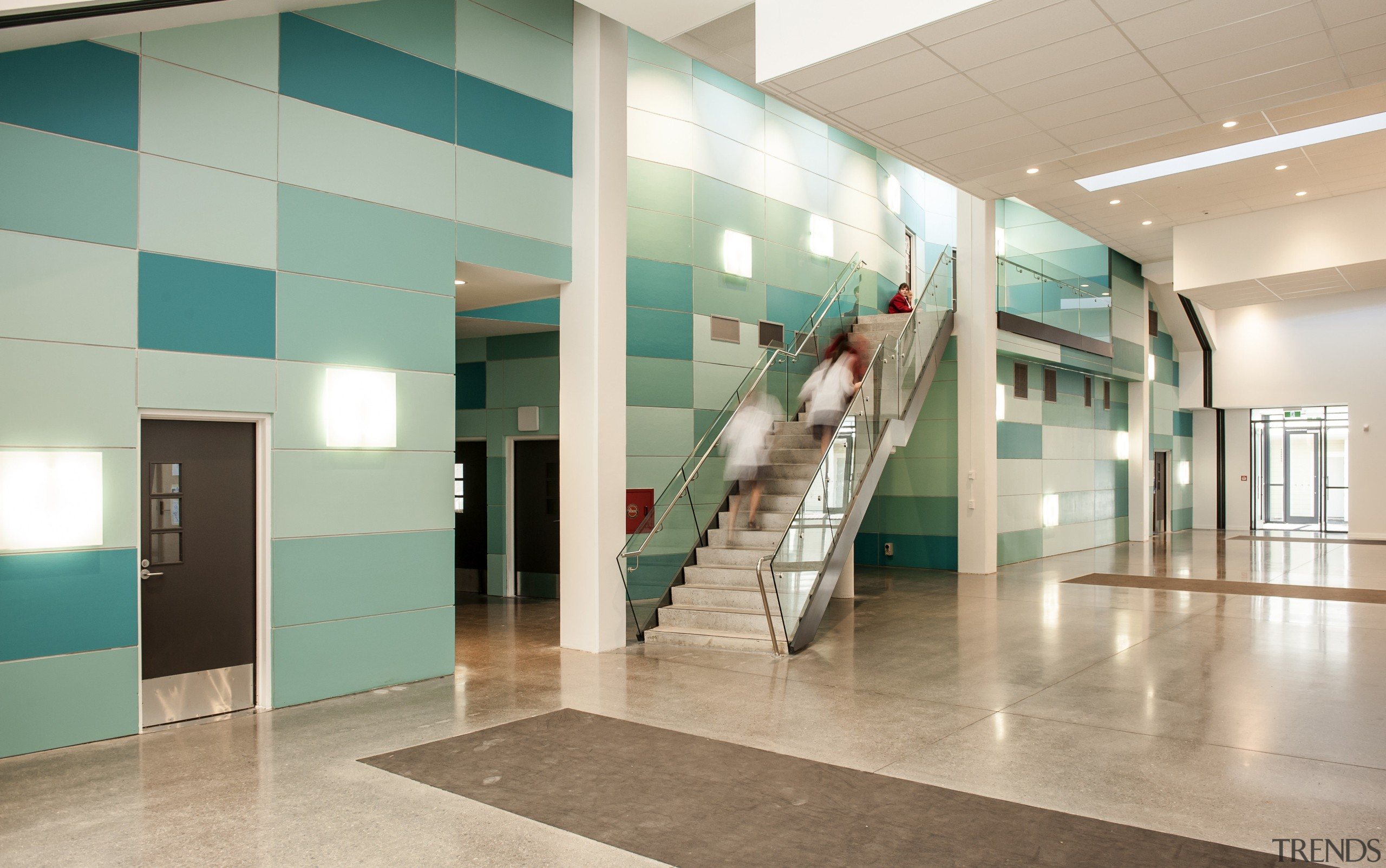 Colour in performing arts auditorium.. Resene Paints feature ceiling, floor, flooring, glass, interior design, lobby, gray