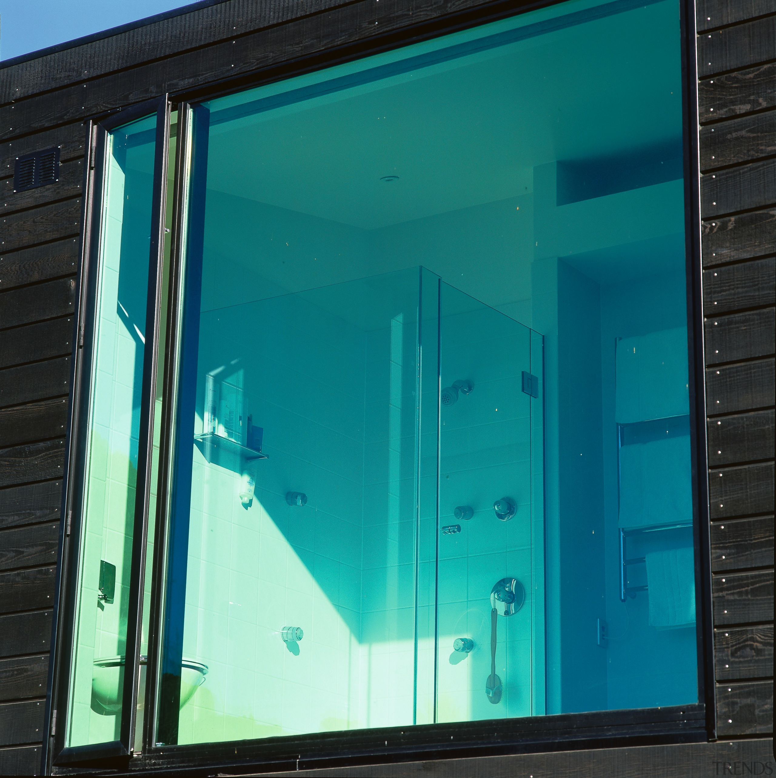 View of a window - View of a architecture, blue, daylighting, door, facade, glass, house, window, teal, black