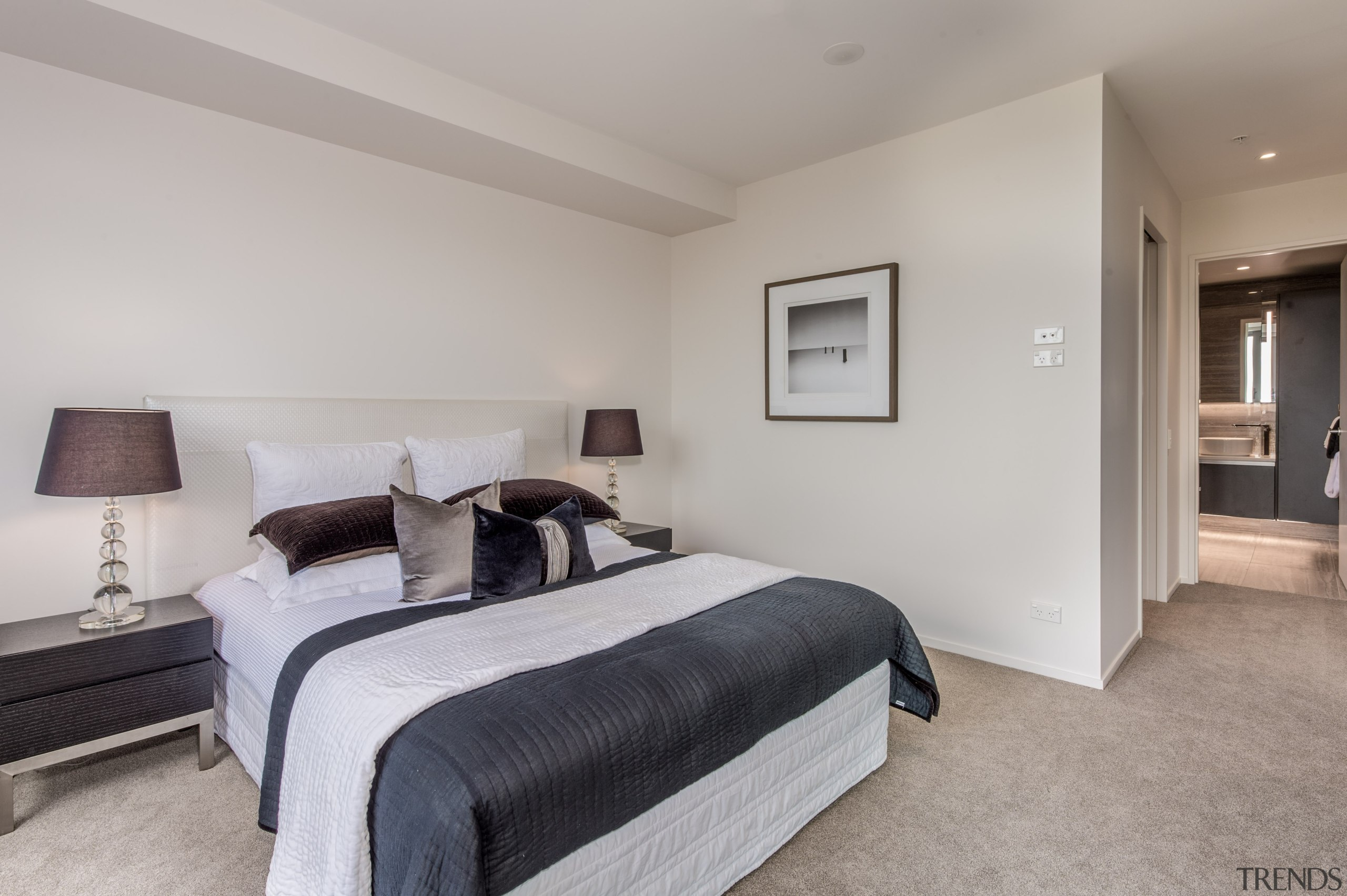 Master bedroom with ensuite - Master bedroom with bed frame, bedroom, ceiling, estate, floor, flooring, home, interior design, property, real estate, room, wall, gray