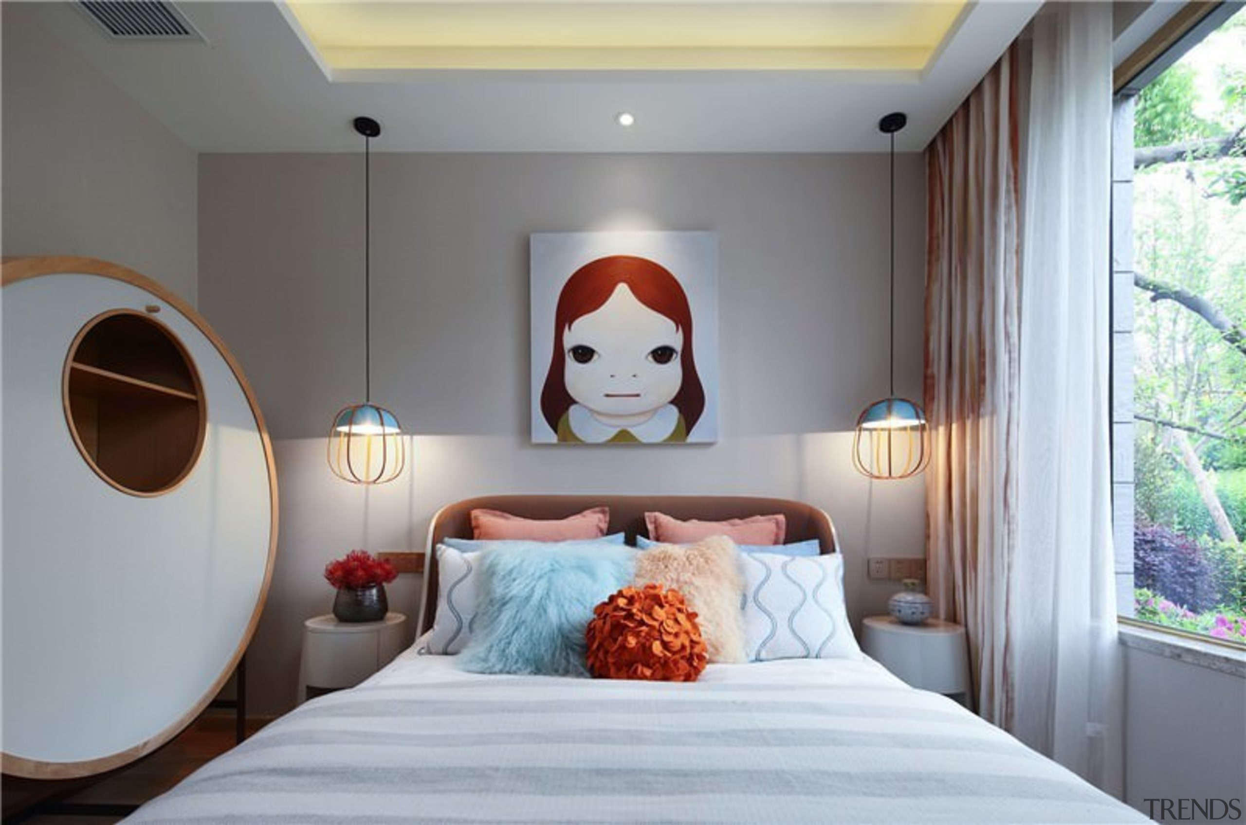 You can see the lush surroundings just outside bed, bedroom, ceiling, home, interior design, room, suite, gray