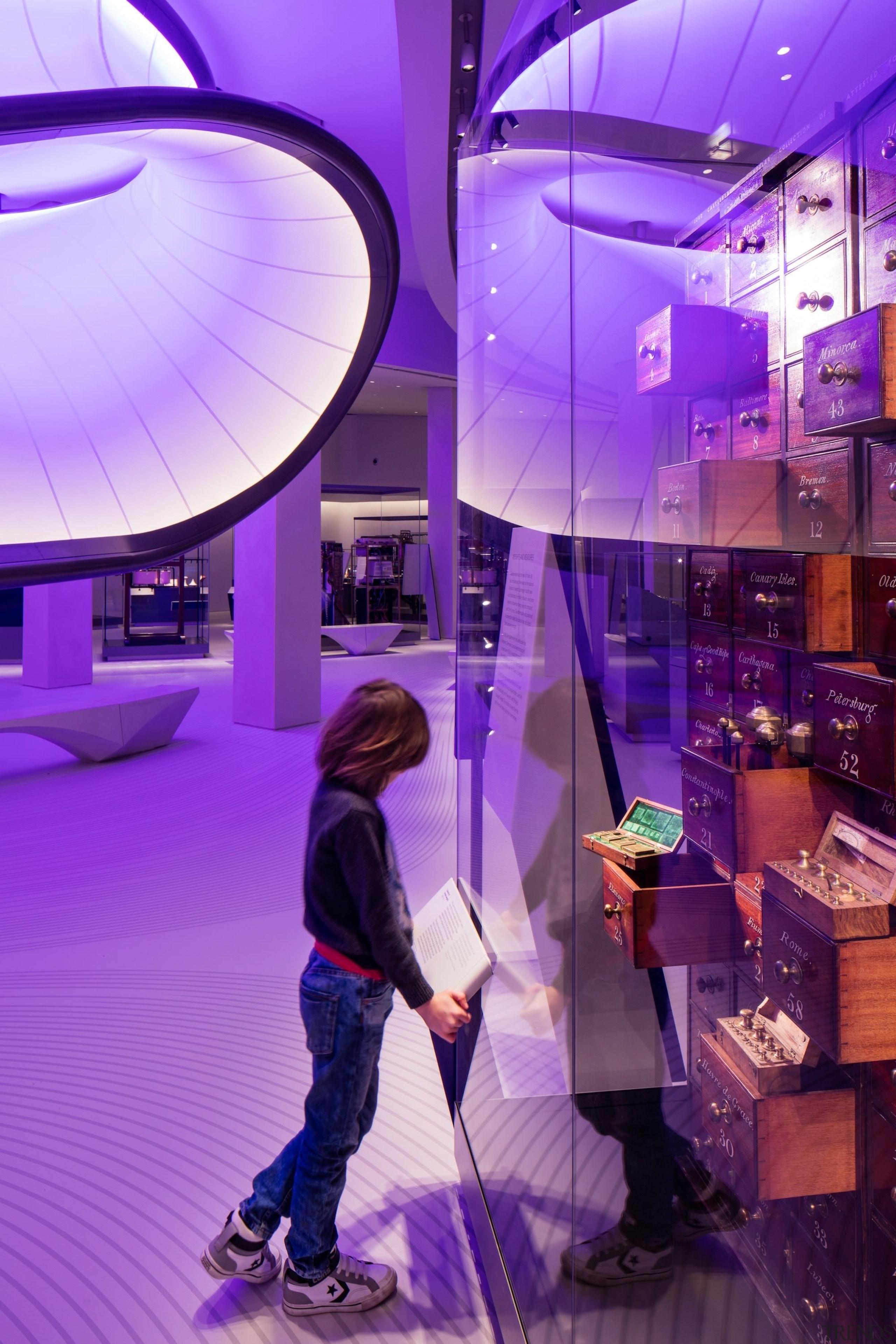 Zaha Hadid – Mathematics: The Winton Gallery – interior design, lighting, magenta, pink, purple, violet, purple
