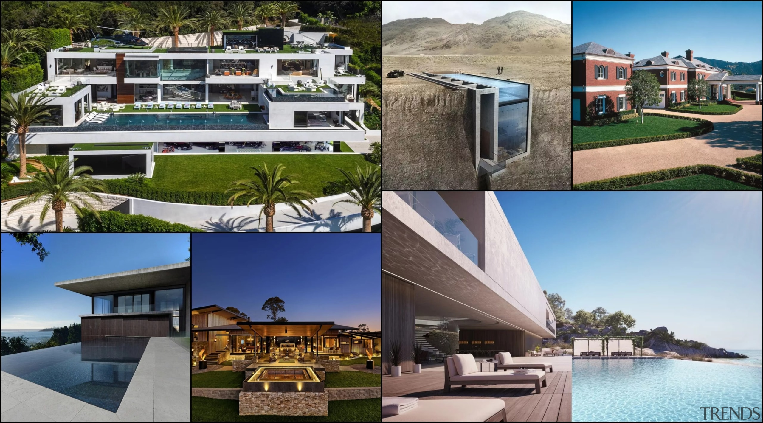 A collage of the featured homes - A architecture, condominium, estate, home, house, leisure, mansion, property, real estate, resort, villa