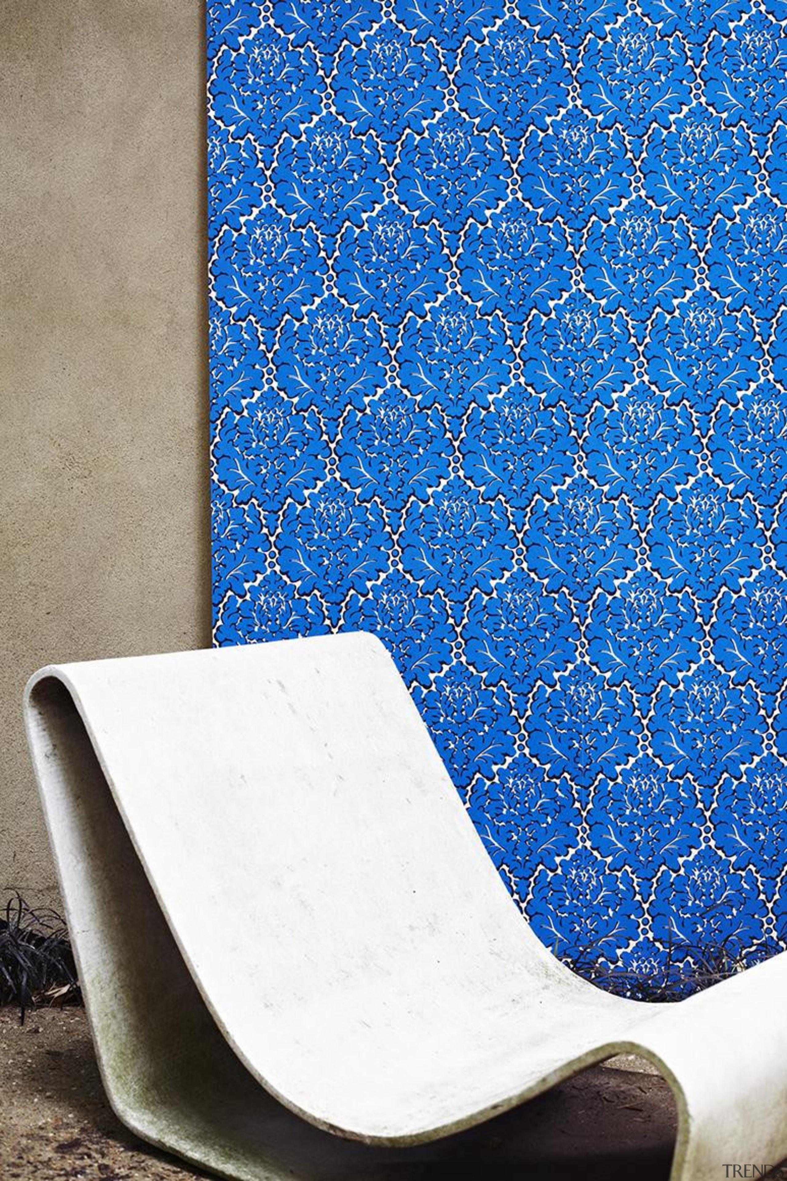 Eley Kishimoto Hand-Printed Wallpaper Collection - Eley Kishimoto blue, chair, design, pattern, product design, wallpaper, blue, white