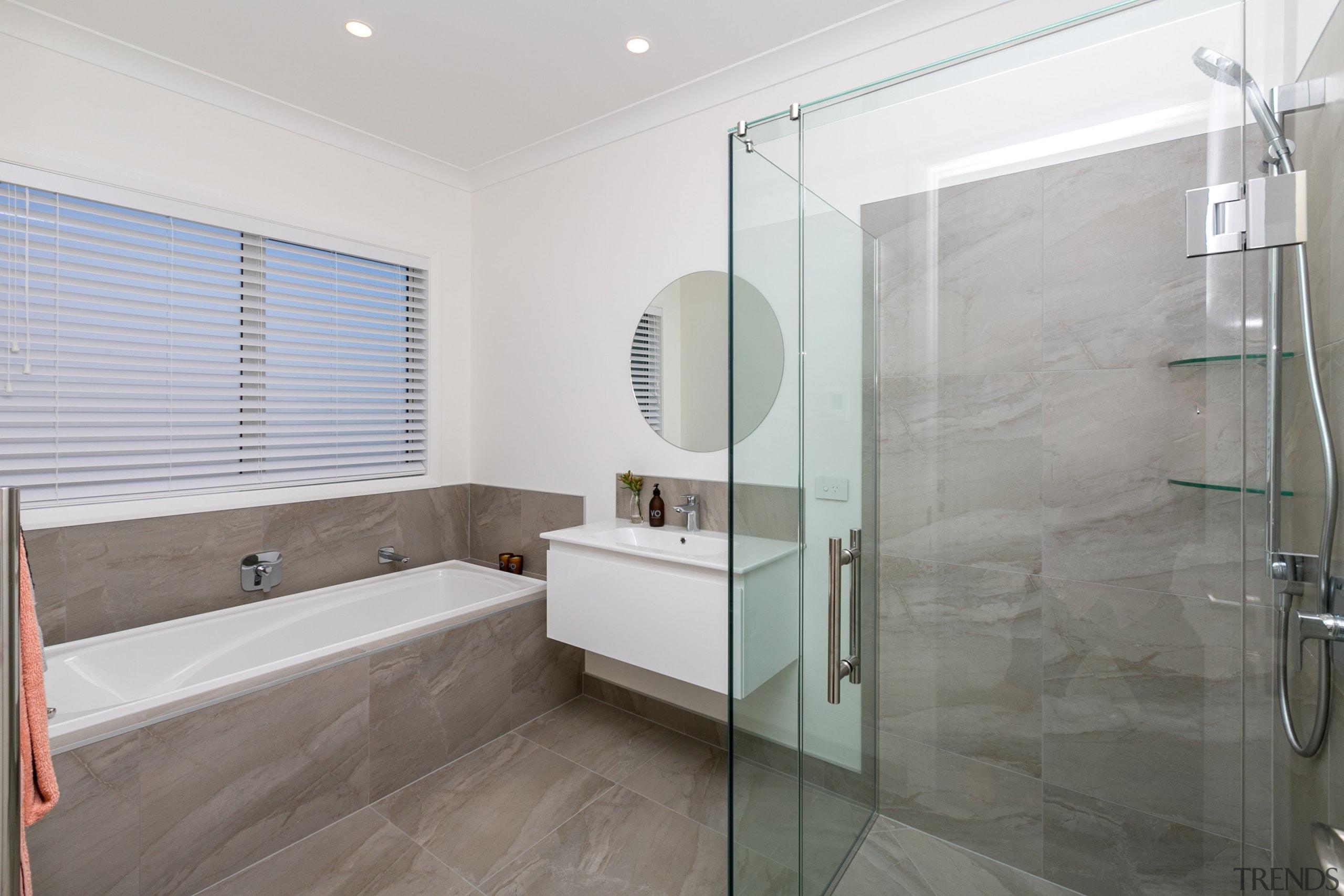 Vision Living frameless glass corner shower, with White bathroom, floor, interior design, real estate, room, gray
