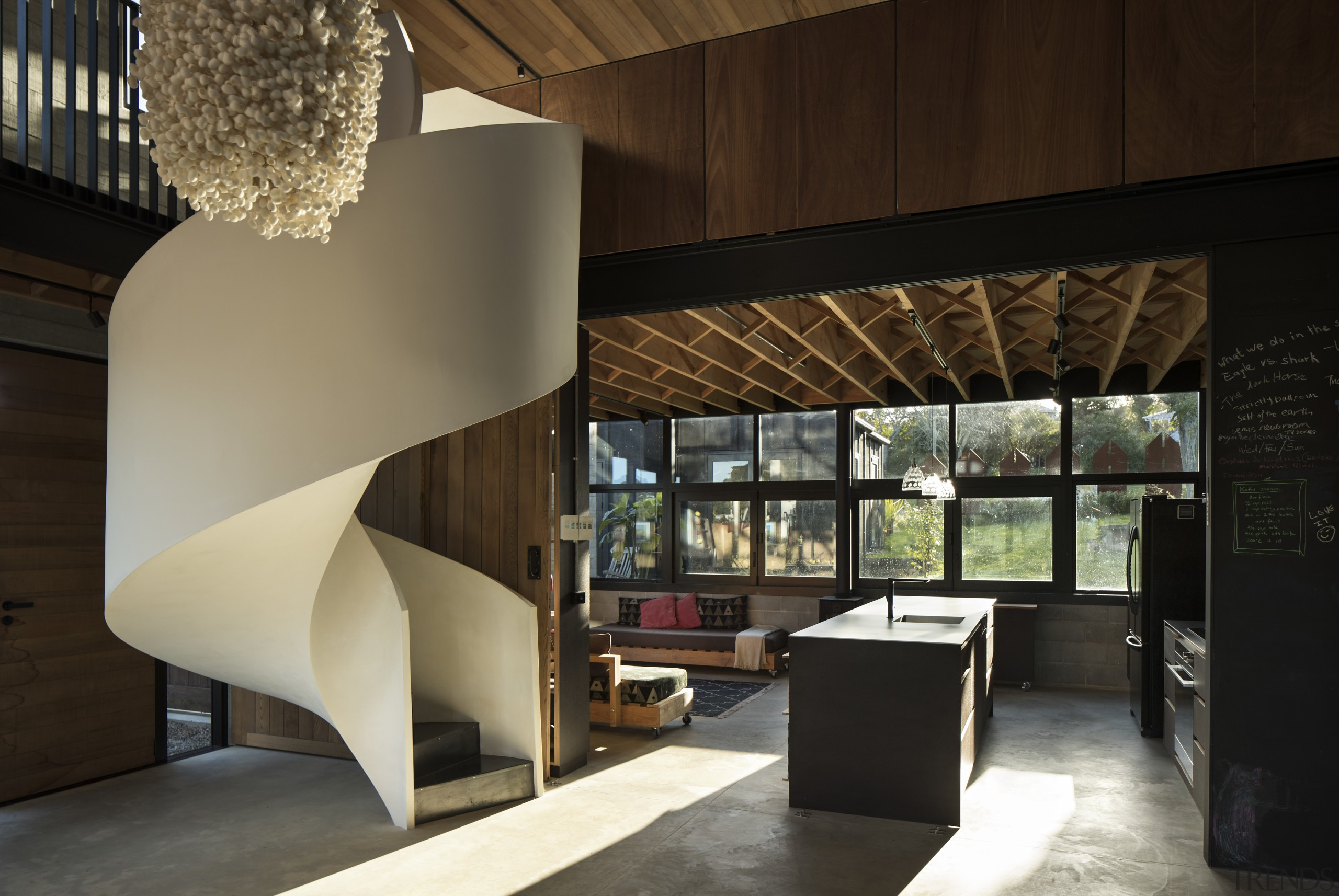 Floor joists for the mezzanine floor above are architecture, furniture, interior design, lobby,