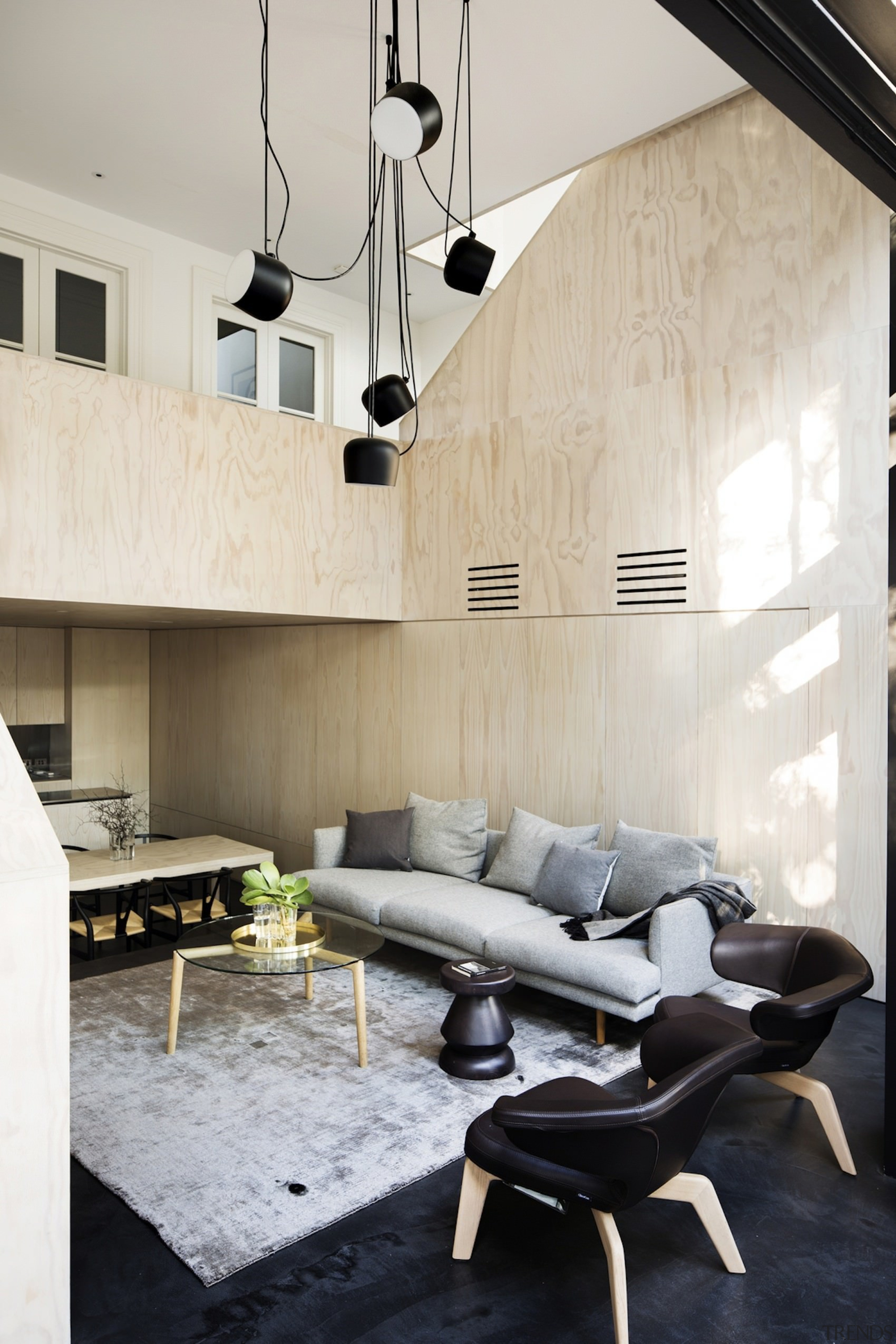 Architect: Architect PrineasPhotography by Chris Warnes architecture, ceiling, chair, floor, furniture, home, house, interior design, light fixture, living room, product design, table, gray