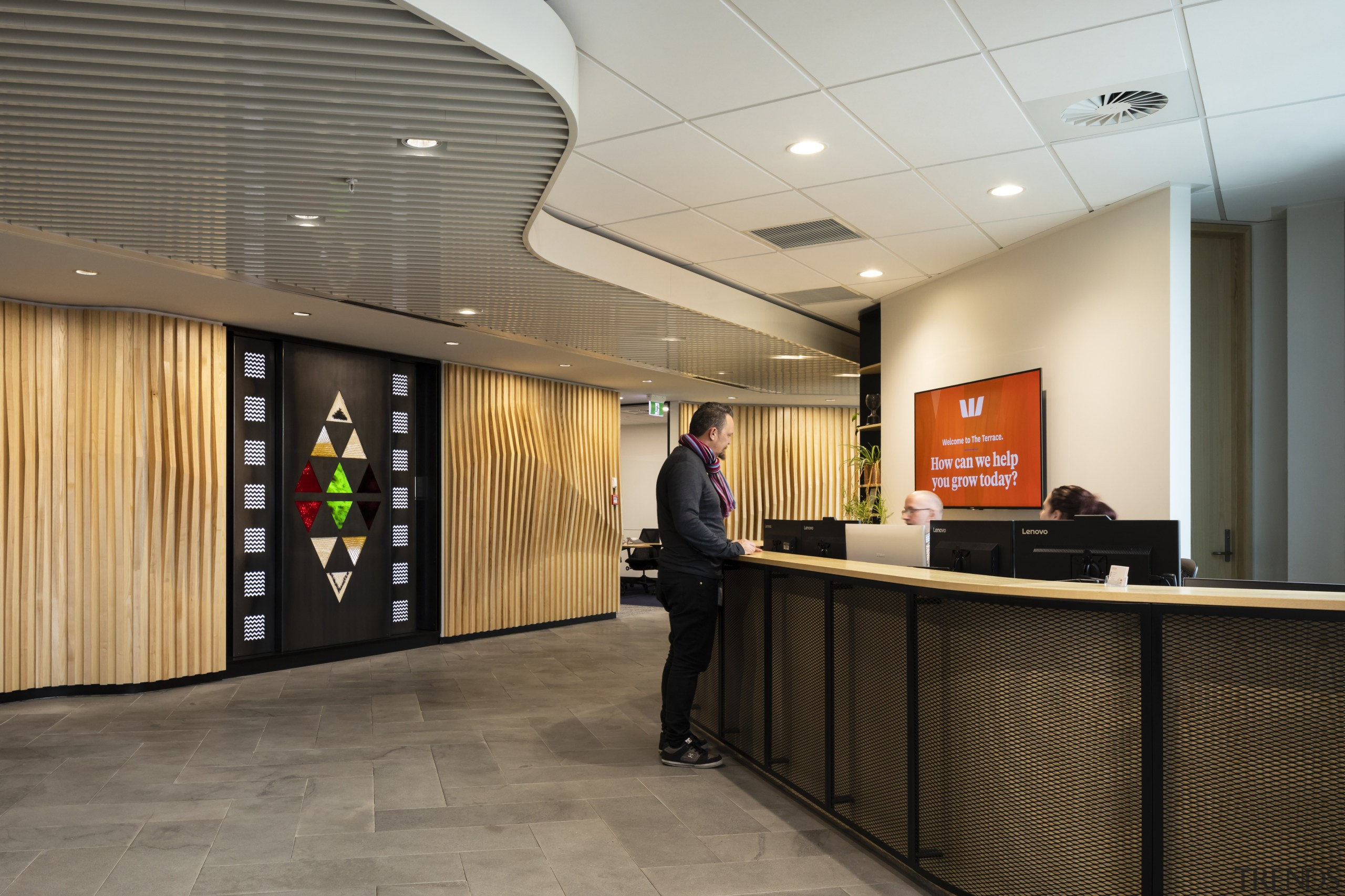 Temperzone supplied Smartemp LMC-AD Linear Multi-stream Diffusers as architecture, building, ceiling, floor, flooring, interior design, lobby, office, room, gray