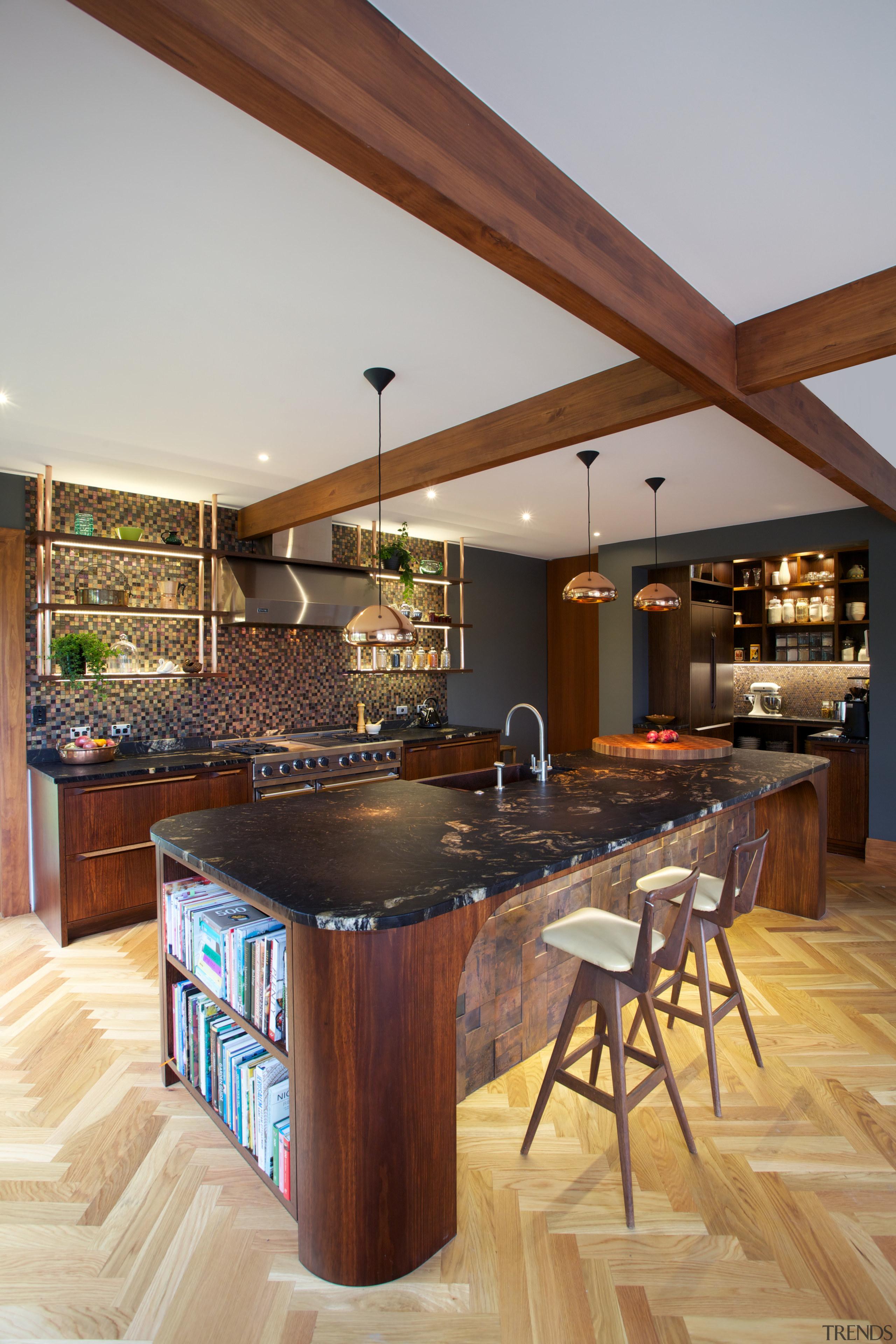 Long-grain birch cabinetry kitchen design by Du Bois countertop, cuisine classique, flooring, hardwood, interior design, kitchen, real estate, wood, wood flooring, gray, brown