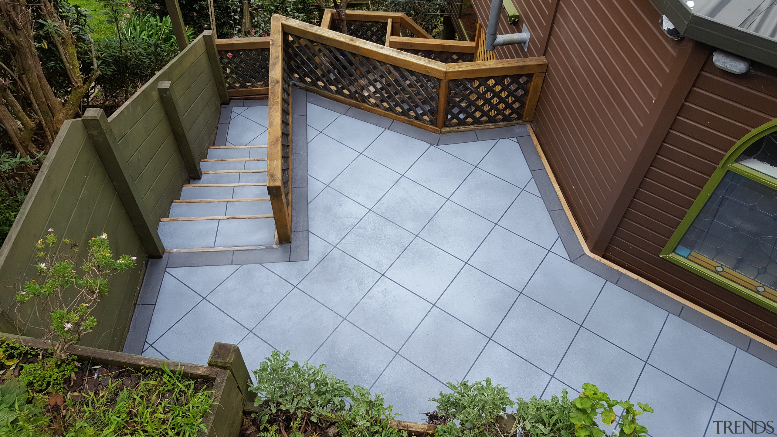 Permacolour Overlay offers an affordable, hassle-free solution to architecture, backyard, courtyard, deck, floor, handrail, house, outdoor structure, property, real estate, roof, walkway, wall, wood, yard, gray, brown
