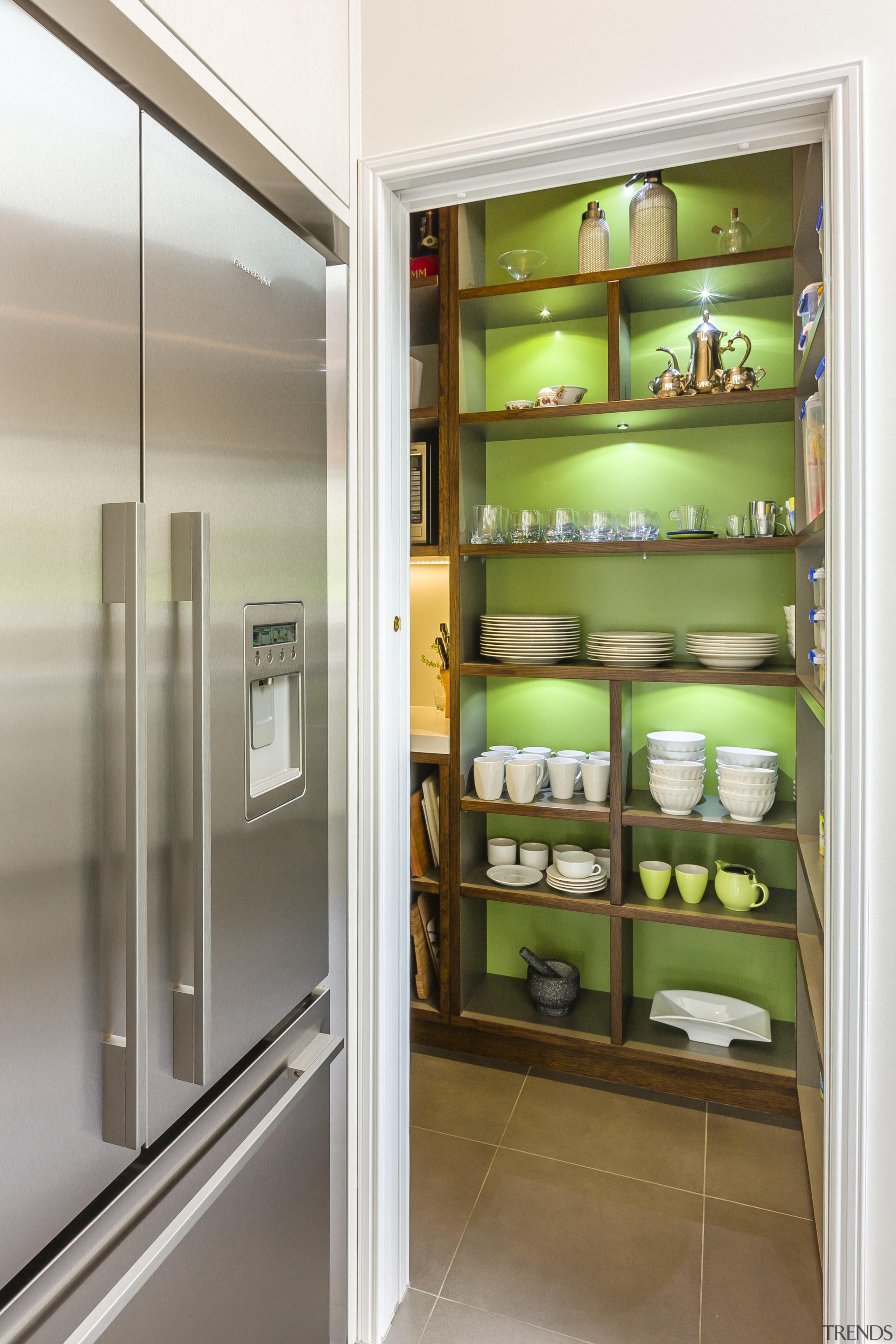 Crockery display and french door refrigerator - Crockery refrigerator, shelf, white