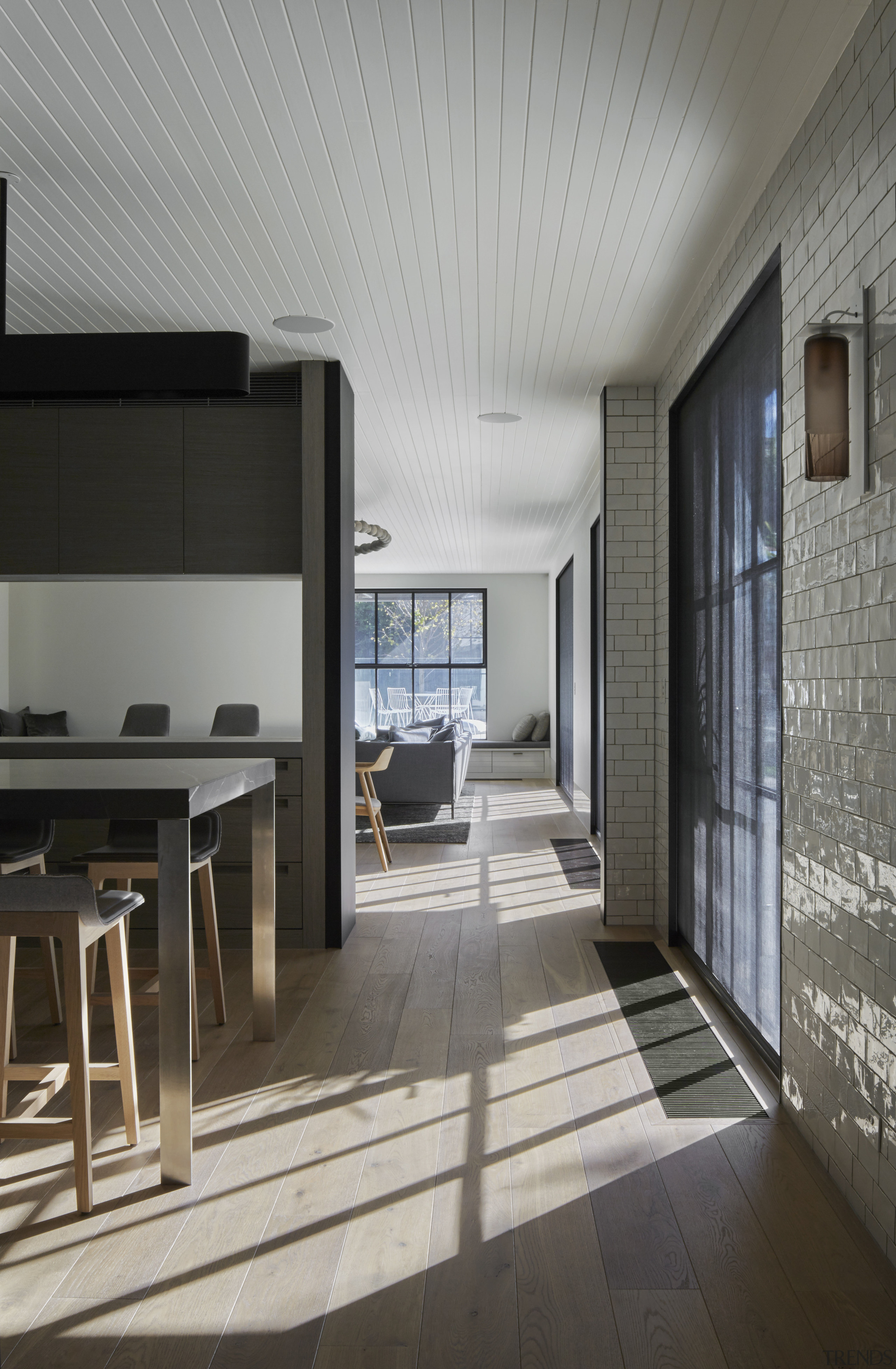 Separate but connected  while meals and drinks architecture, ceiling, daylighting, floor, flooring, house, interior design, gray, black