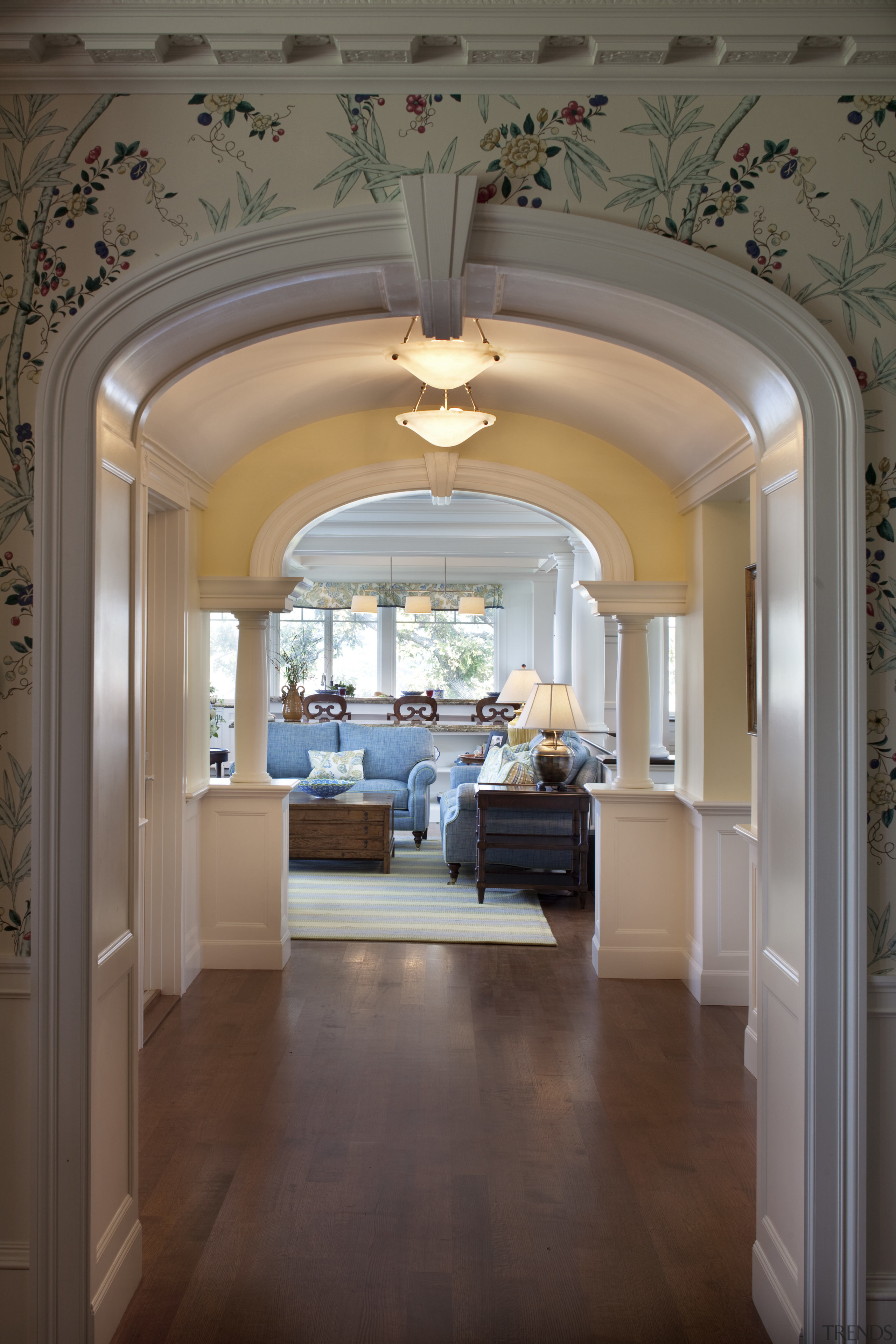 A hallway now provides an easy transition from arch, architecture, ceiling, estate, floor, flooring, home, interior design, wall, gray, brown
