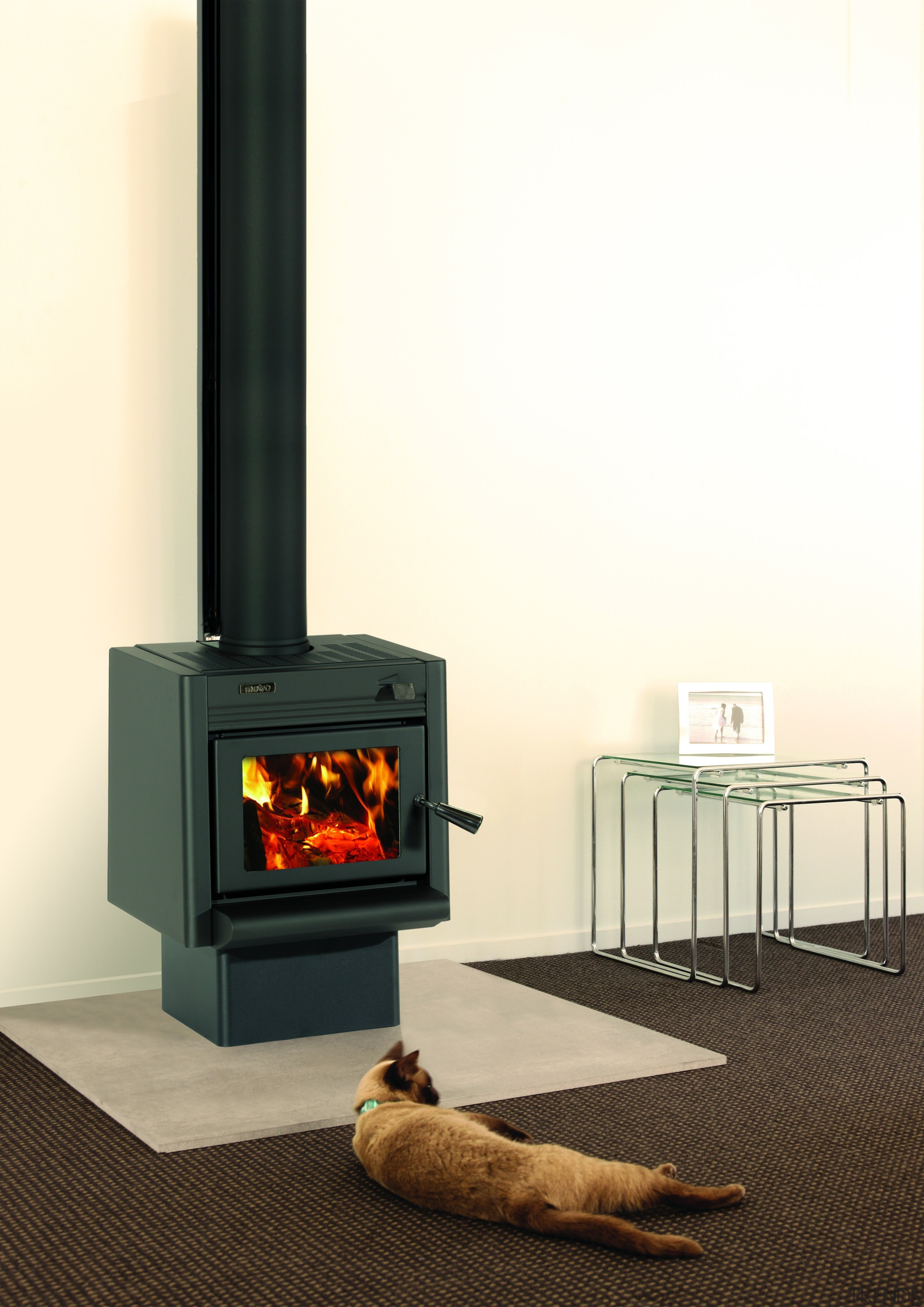 Metro Fires Tiny Ped 11kW Wood Fire - hearth, heat, home appliance, product, wood burning stove, yellow, white, black