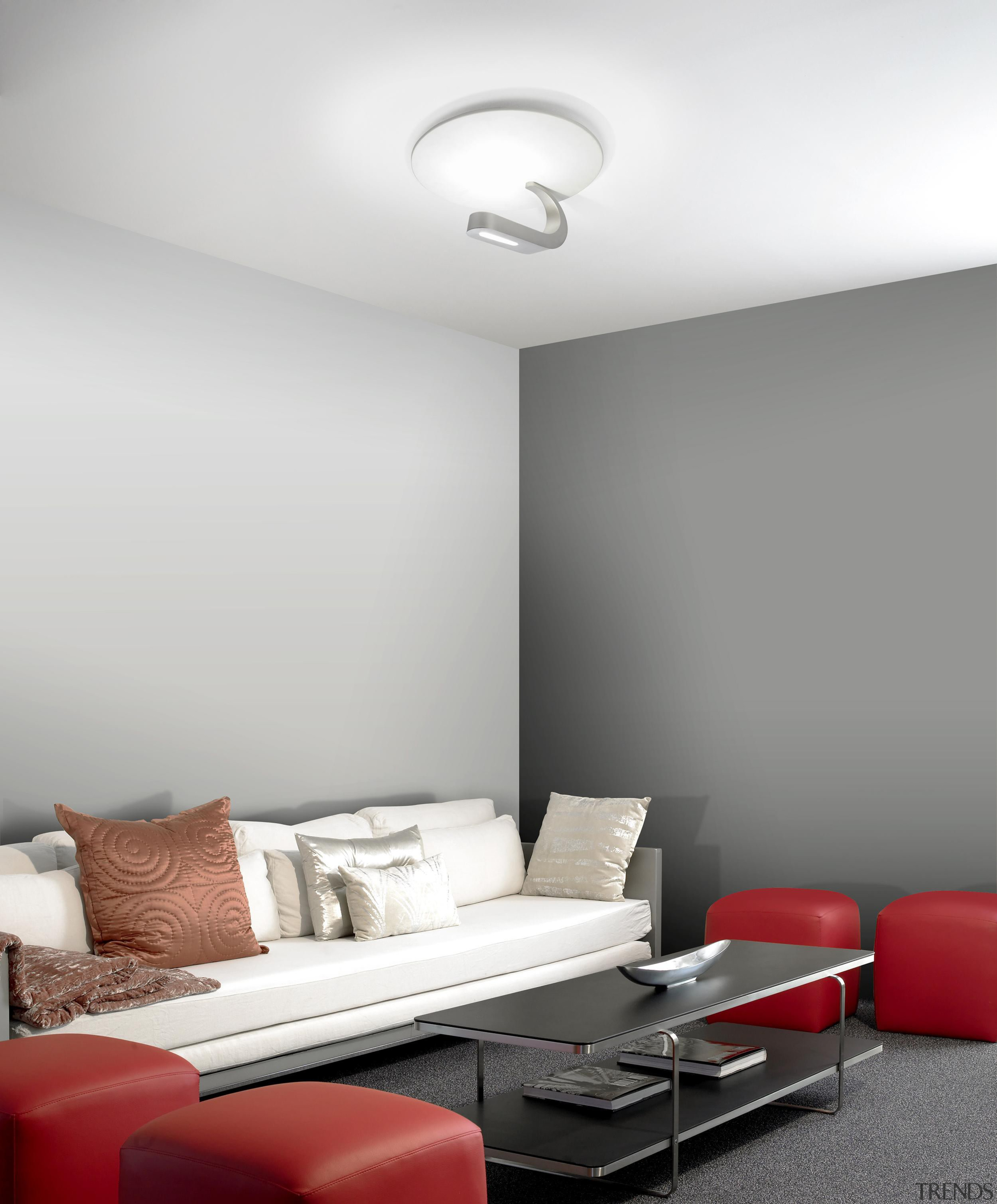 Trac from Grok, Spain - Ceiling Lights - angle, ceiling, interior design, light fixture, lighting, living room, product design, room, table, wall, gray, white