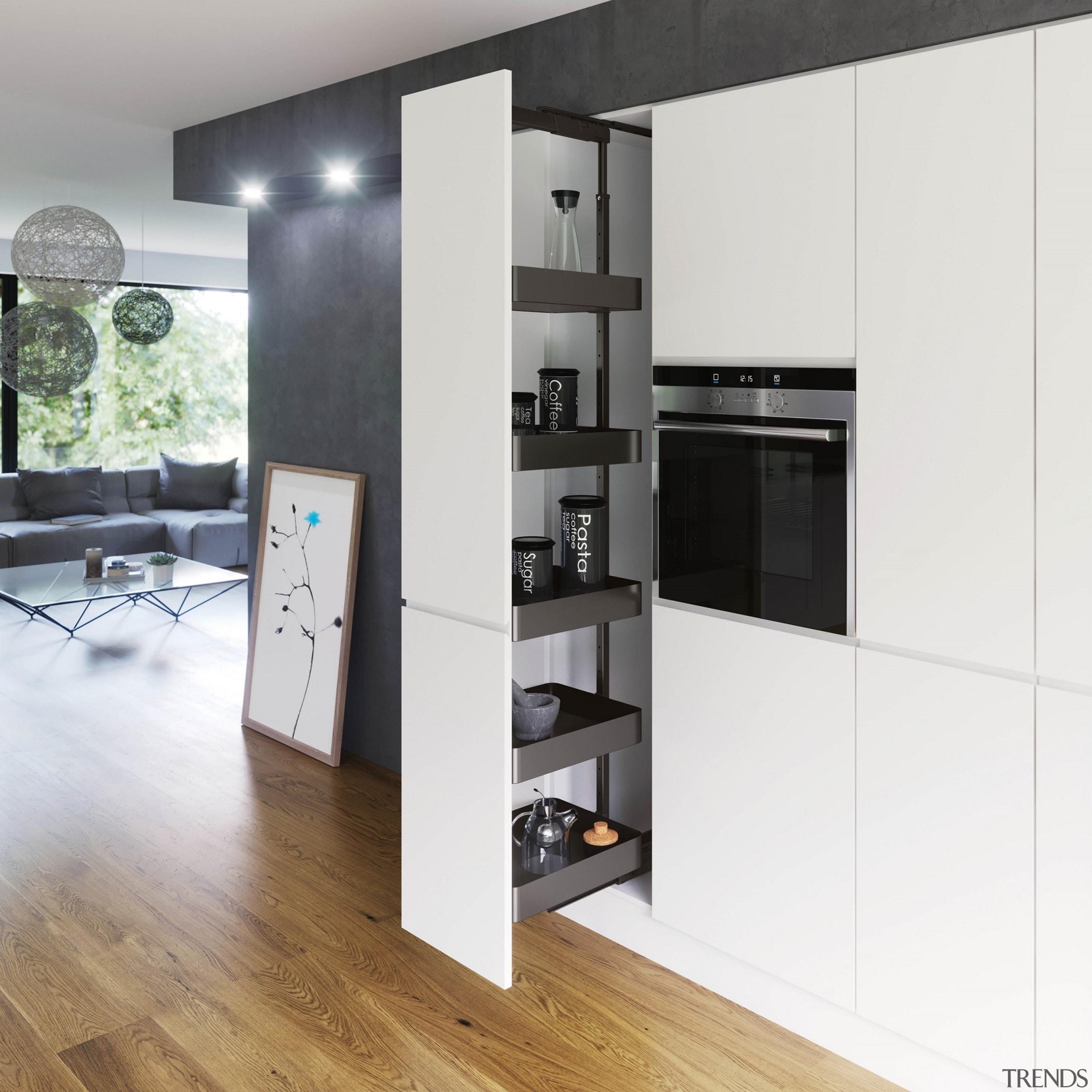The VS TAL Larder model provides a full cabinetry, furniture, interior design, kitchen, shelving, white