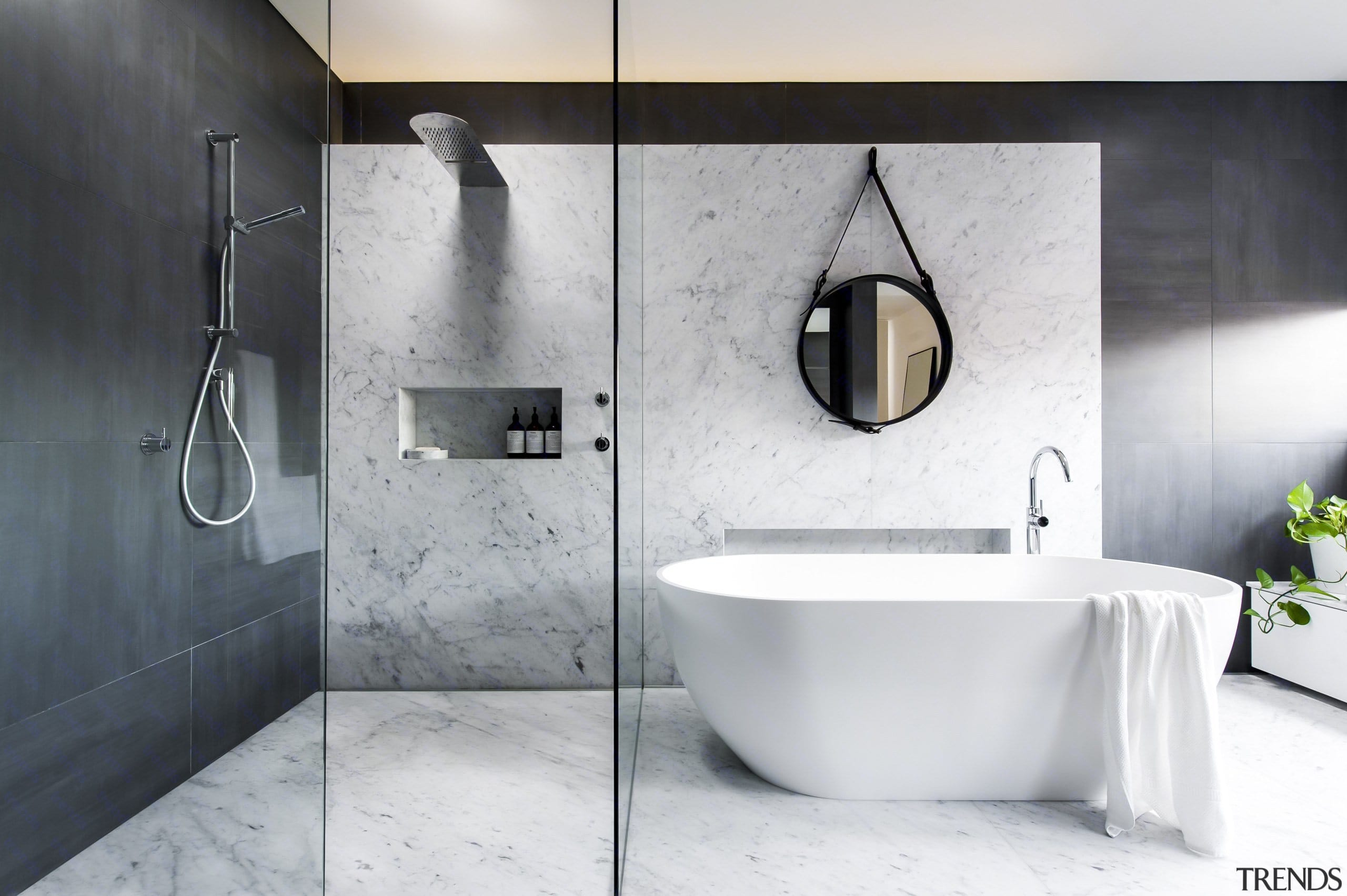 See more of this bathroom hereDesigned by bathroom, bidet, ceramic, floor, interior design, plumbing fixture, room, tap, tile, white, gray