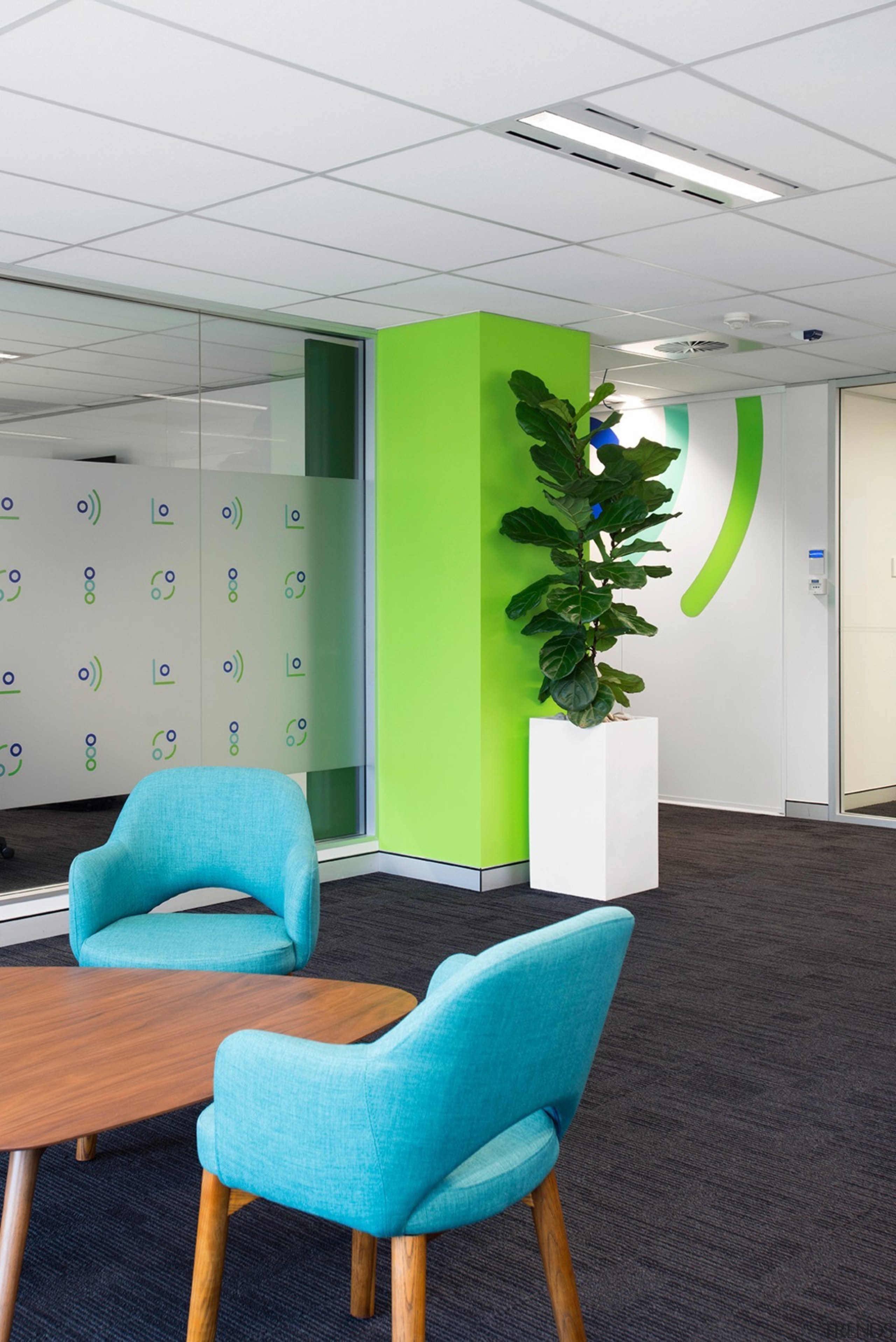 Plant, meet green pillar - Plant, meet green ceiling, furniture, interior design, office, product design, table, wall, white