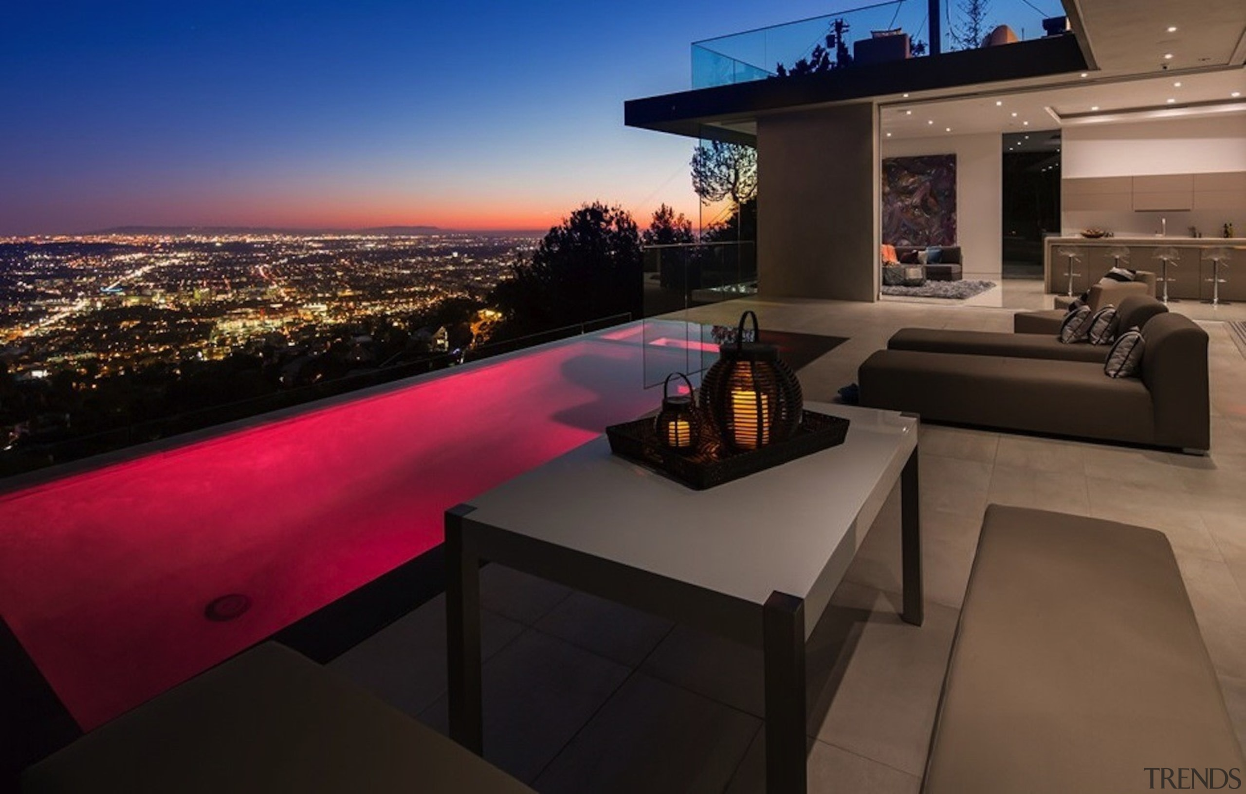 The ability to change the pool lights means apartment, architecture, home, interior design, property, real estate, black